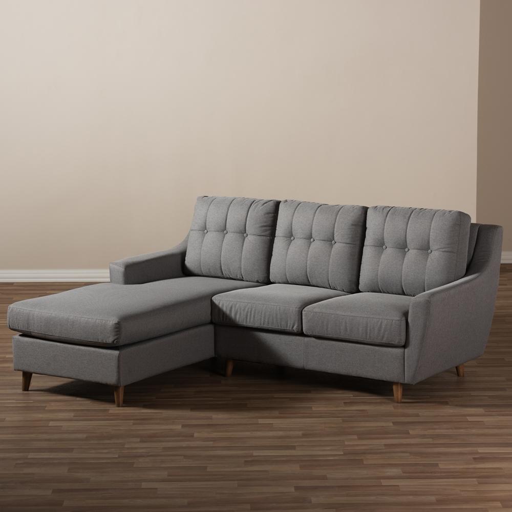 Sectional Sofa Grey Baxton Studio: Baxton Studio Mckenzie Mid-Century Grey Fabric Upholstered