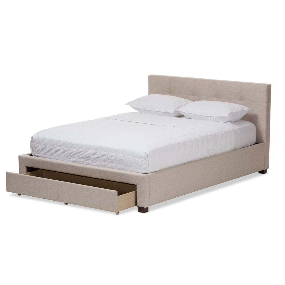 Baxton studio brandy light beige fabric upholstered queen for Upholstered platform bed with drawers