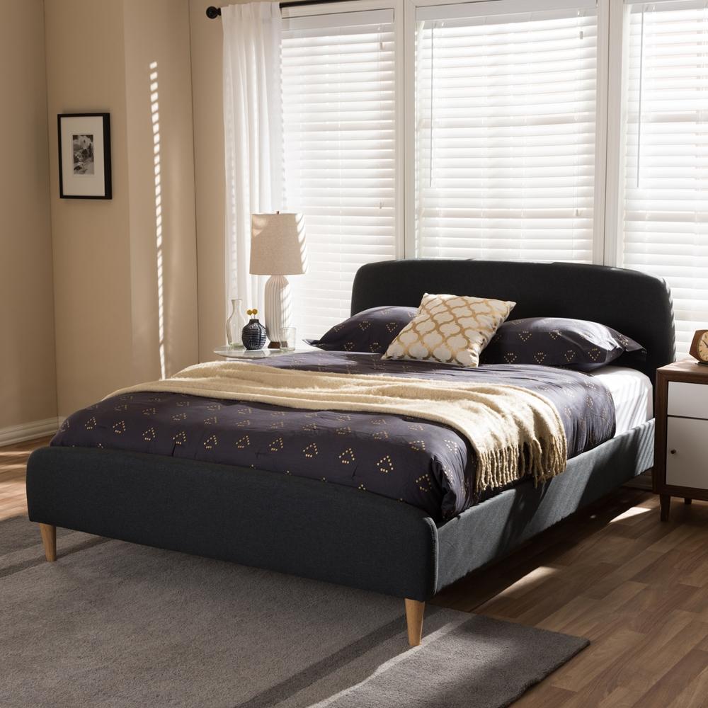 Mia Bedroom Furniture Baxton Studio Mia Mid Century Charcoal Grey Fabric Upholstered