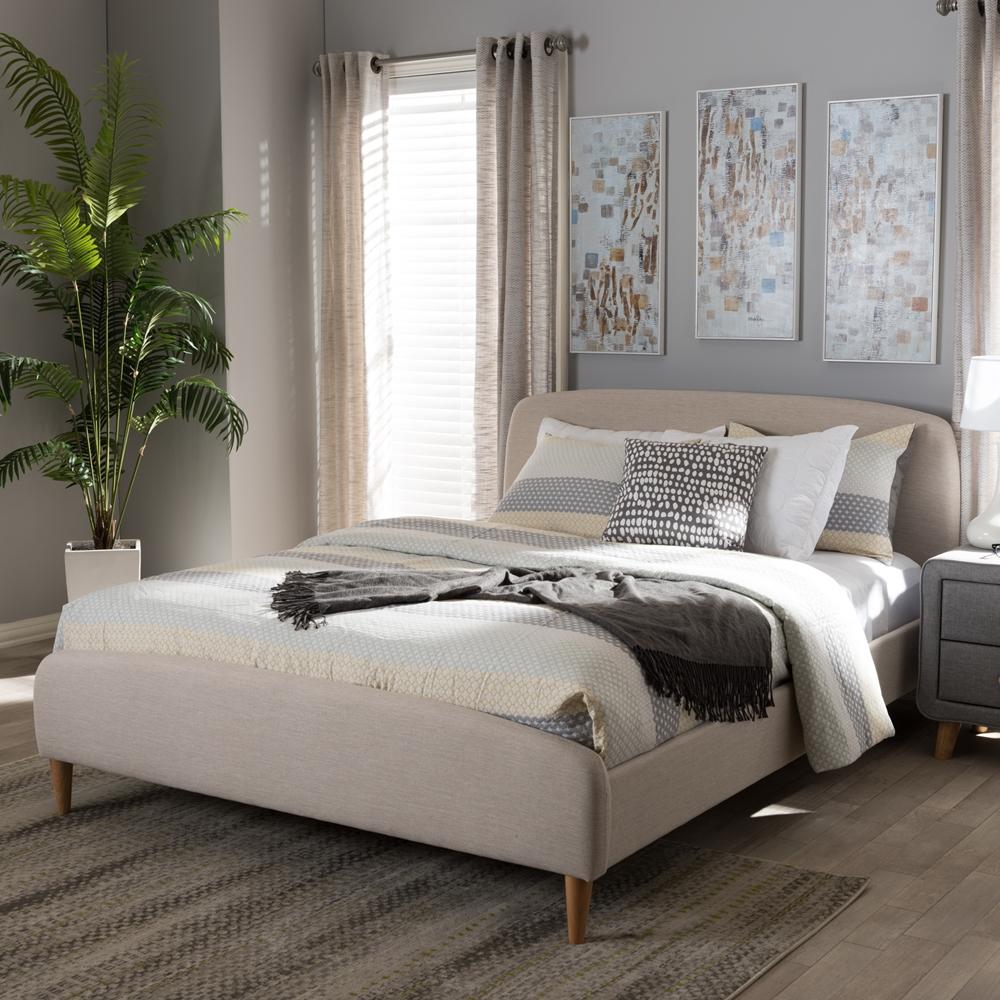 Mia Bedroom Furniture Baxton Studio Mia Mid Century Light Beige Fabric Upholstered Queen