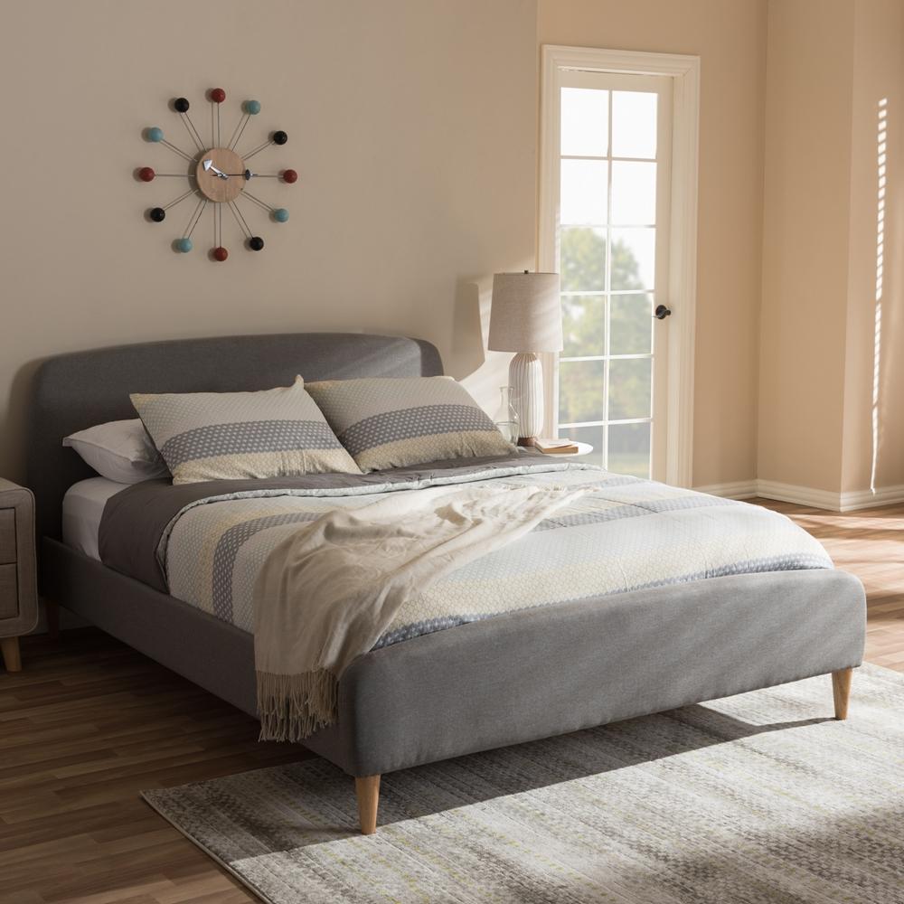 Mia Bedroom Furniture Baxton Studio Mia Mid Century Light Grey Fabric Upholstered King