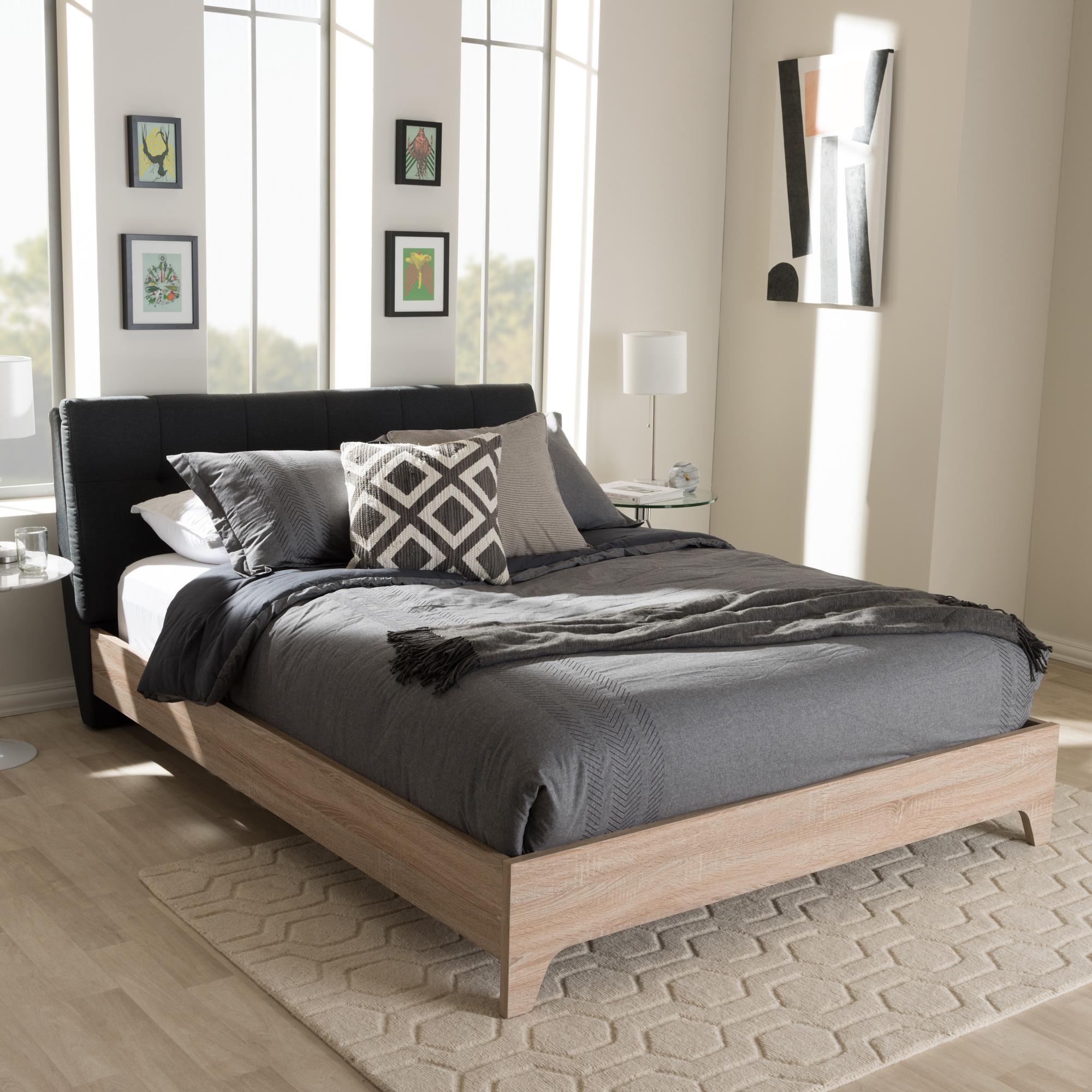 ... Baxton Studio Adelia Mid Century Charcoal Grey Whitewash Full Size  Platform Bed   BSOCF8821  ...