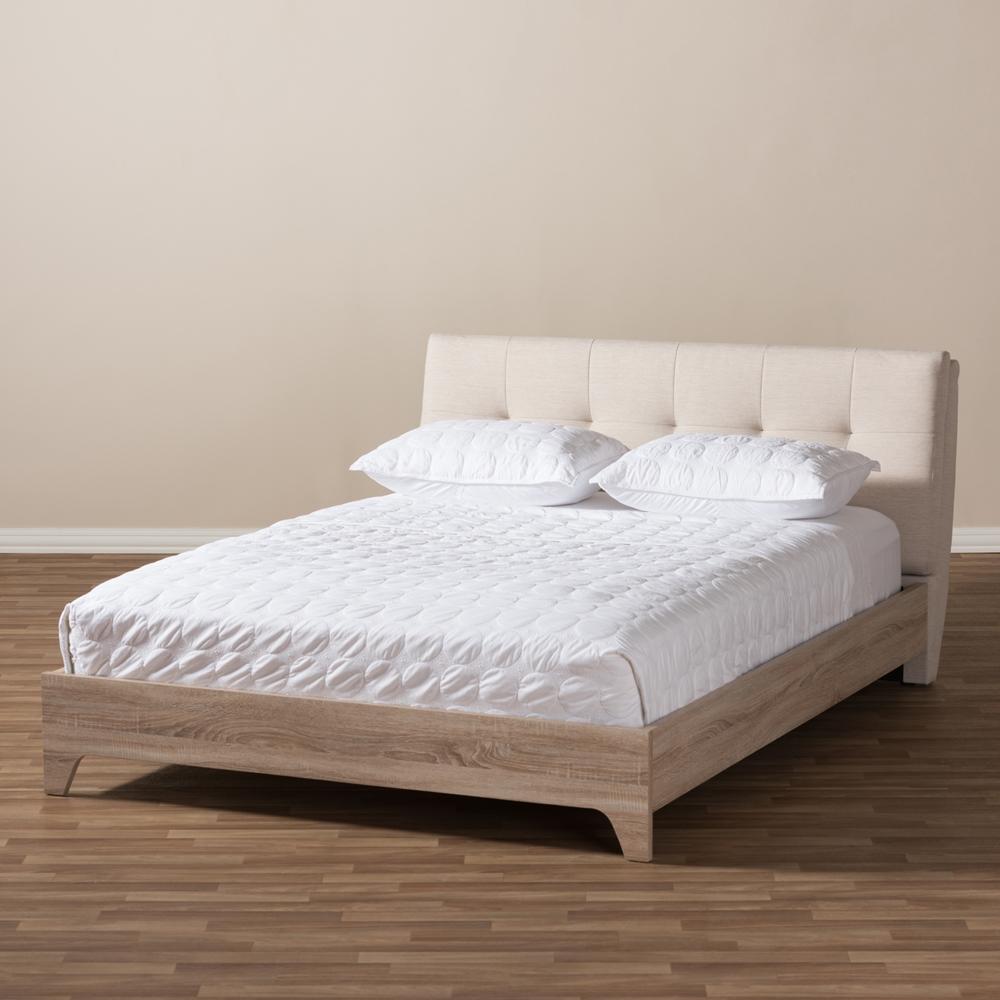 Baxton Studio Adelia Mid Century Light Beige Whitewash Queen Size Platform Bed Bsocf8821