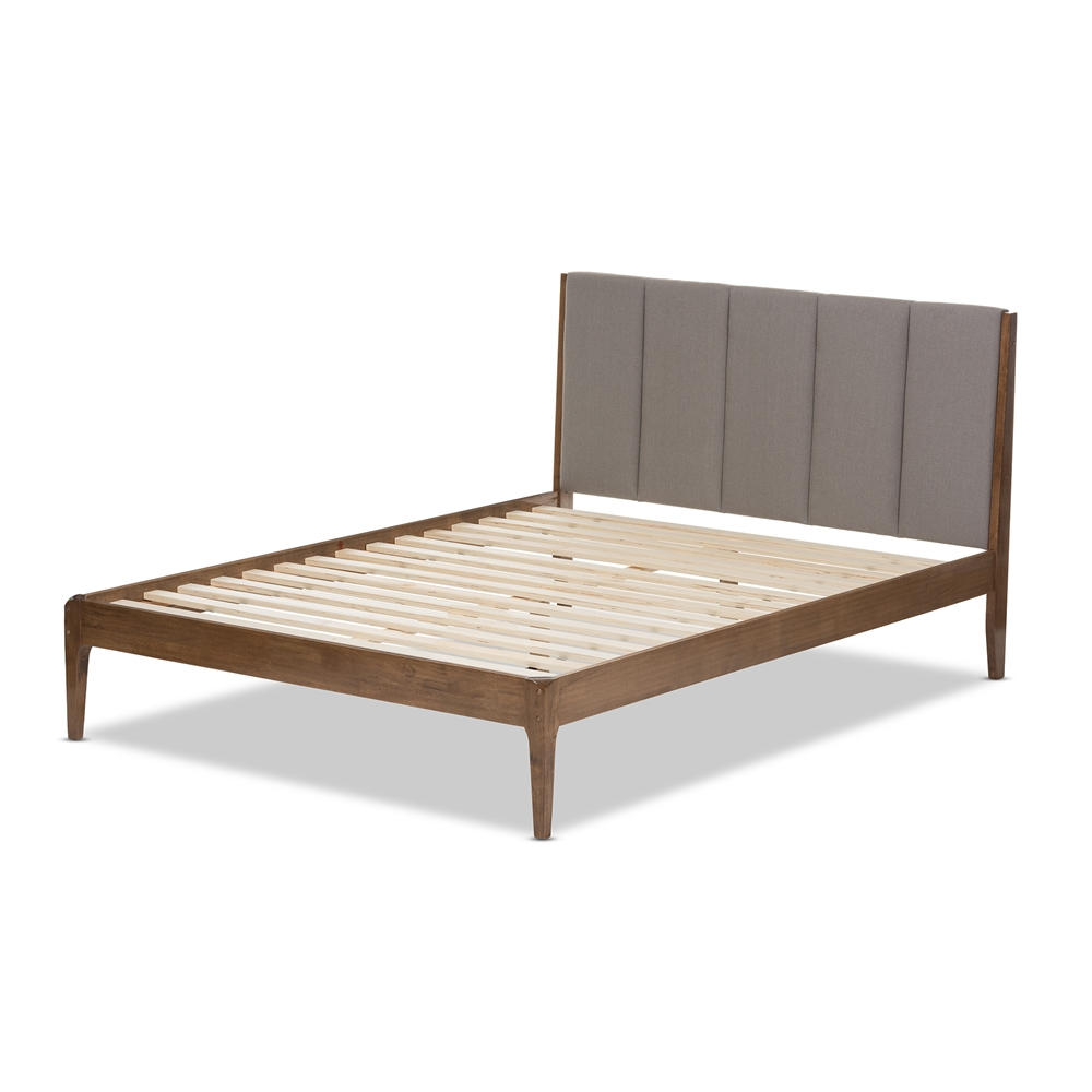 Baxton studio ember mid century light grey fabric and medium brown finish wood king size - Light wood platform bed ...