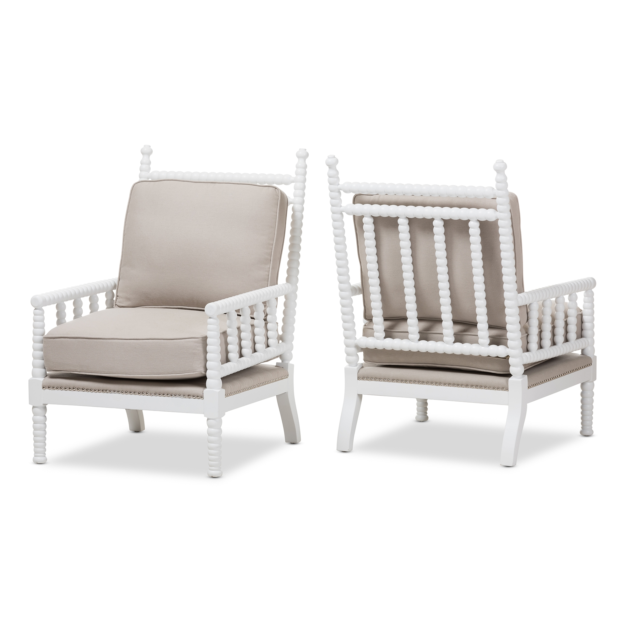 Baxton studio hillary modern and contemporary beige fabric upholstered and white finish wood spindle back accent chair set of 2