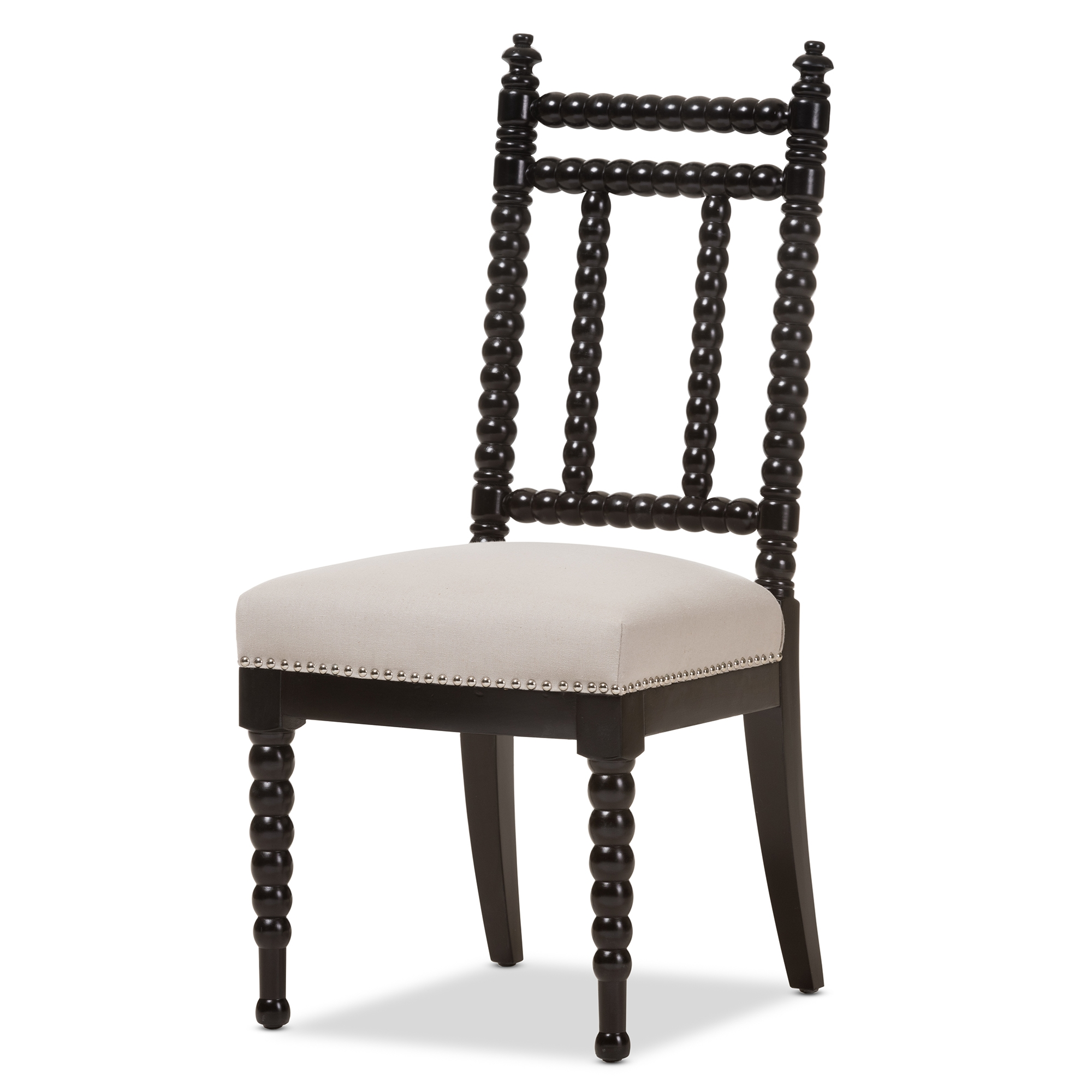 baxton studio heather modern and beige fabric upholstered and black finish wood dining chair affordable - Dinette Chairs