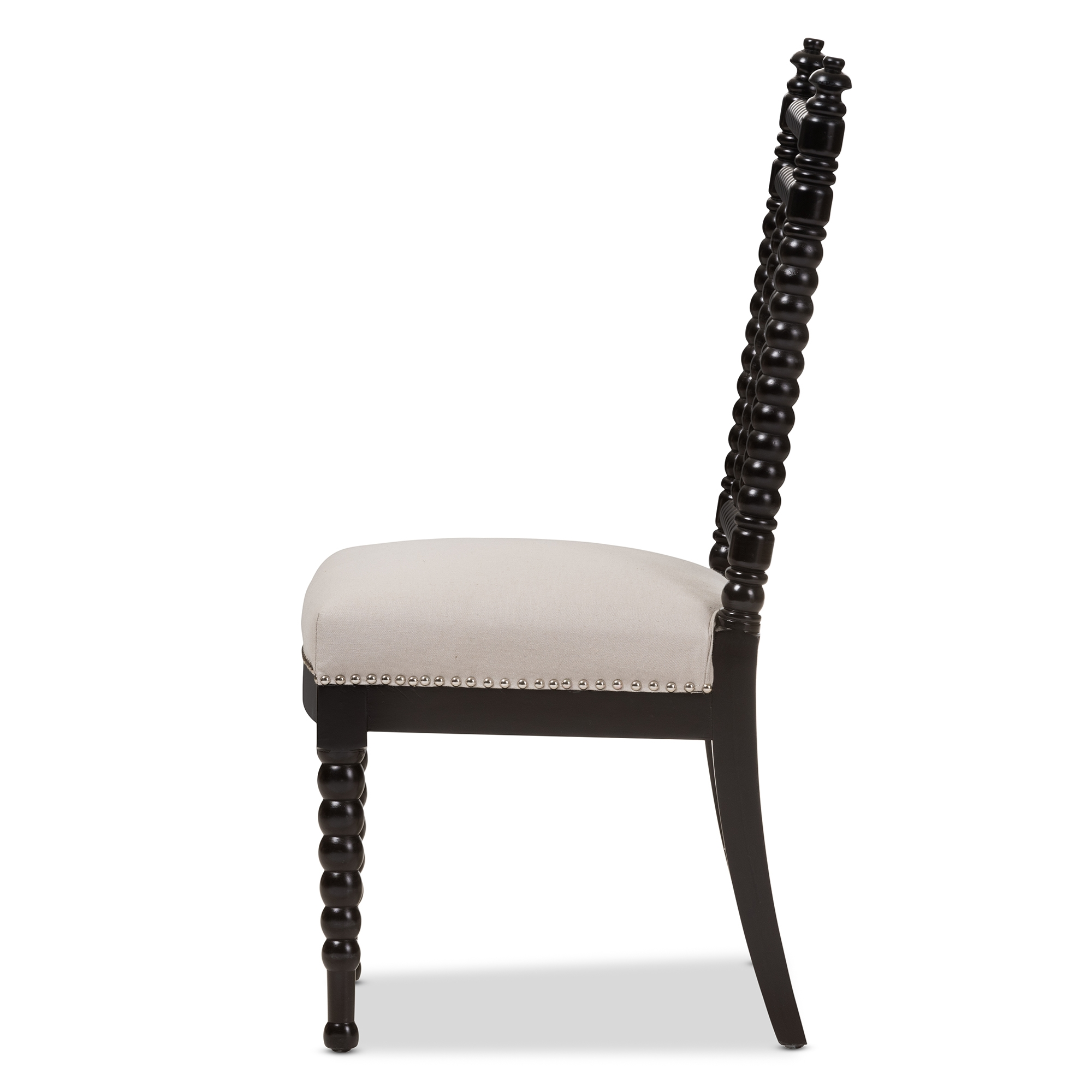 baxton studio heather modern and beige fabric upholstered and black finish wood dining chair