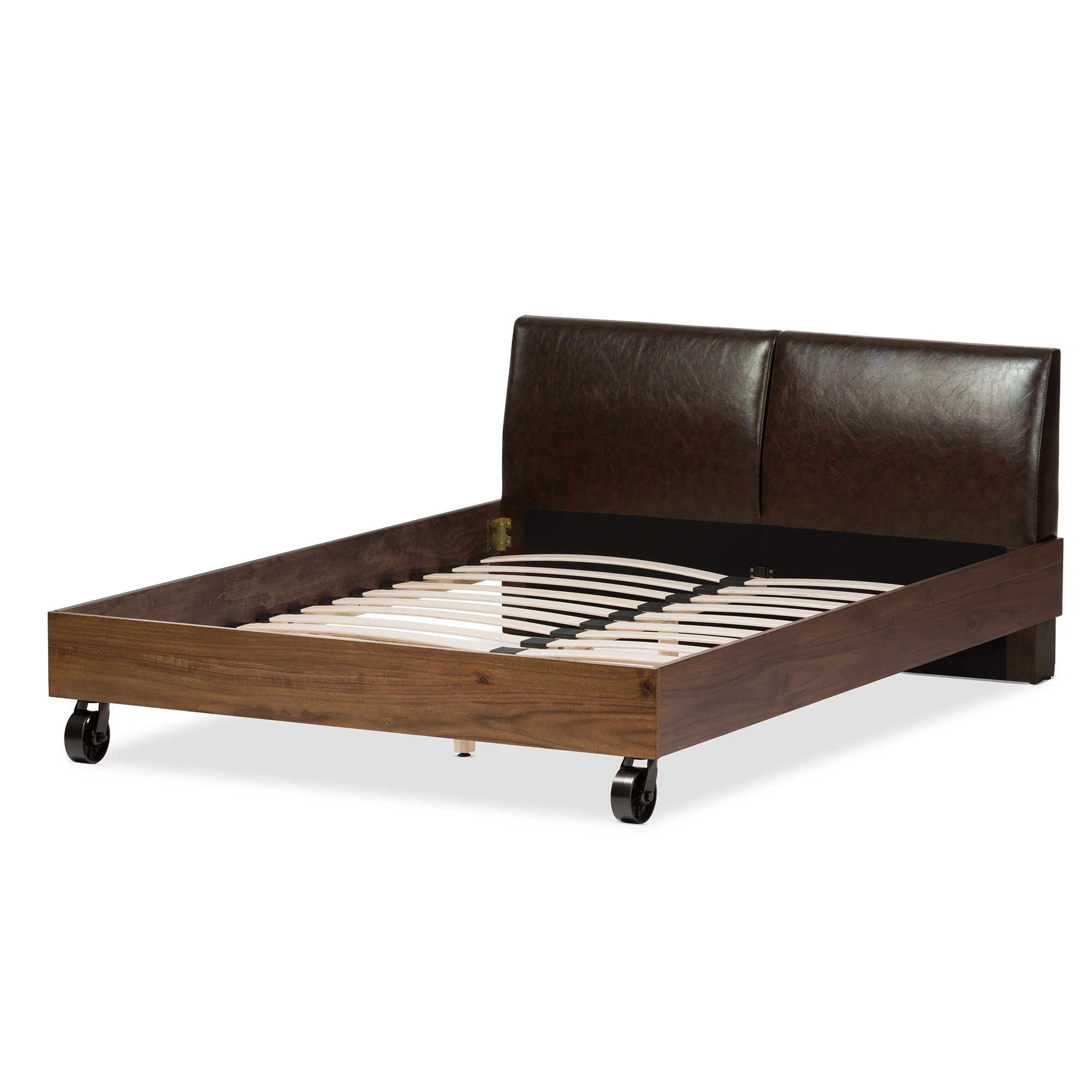 baxton studio brooke rustic industrial walnut wood distressed faux leather dark bronze metal full size platform - Platform Bed Full
