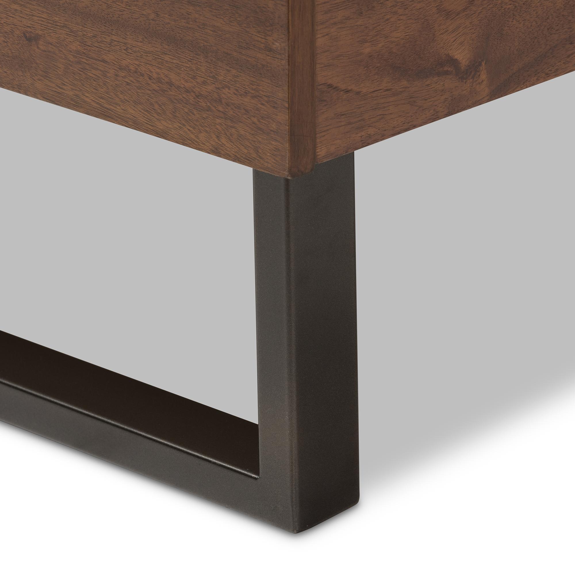 baxton studio mitchell rustic industrial walnut wood grey fabric dark bronze metal king size platform bed