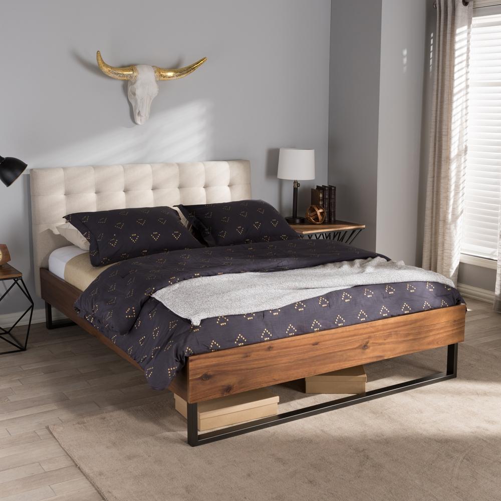 Light Walnut Bedroom Furniture Baxton Studio Mitchell Rustic Industrial Walnut Wood Beige Fabric
