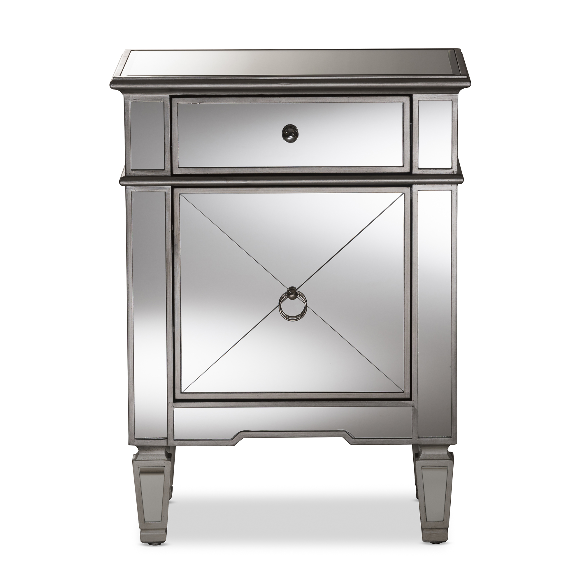 baxton studio claudia hollywood regency glamour style mirrored nightstand bsors2403