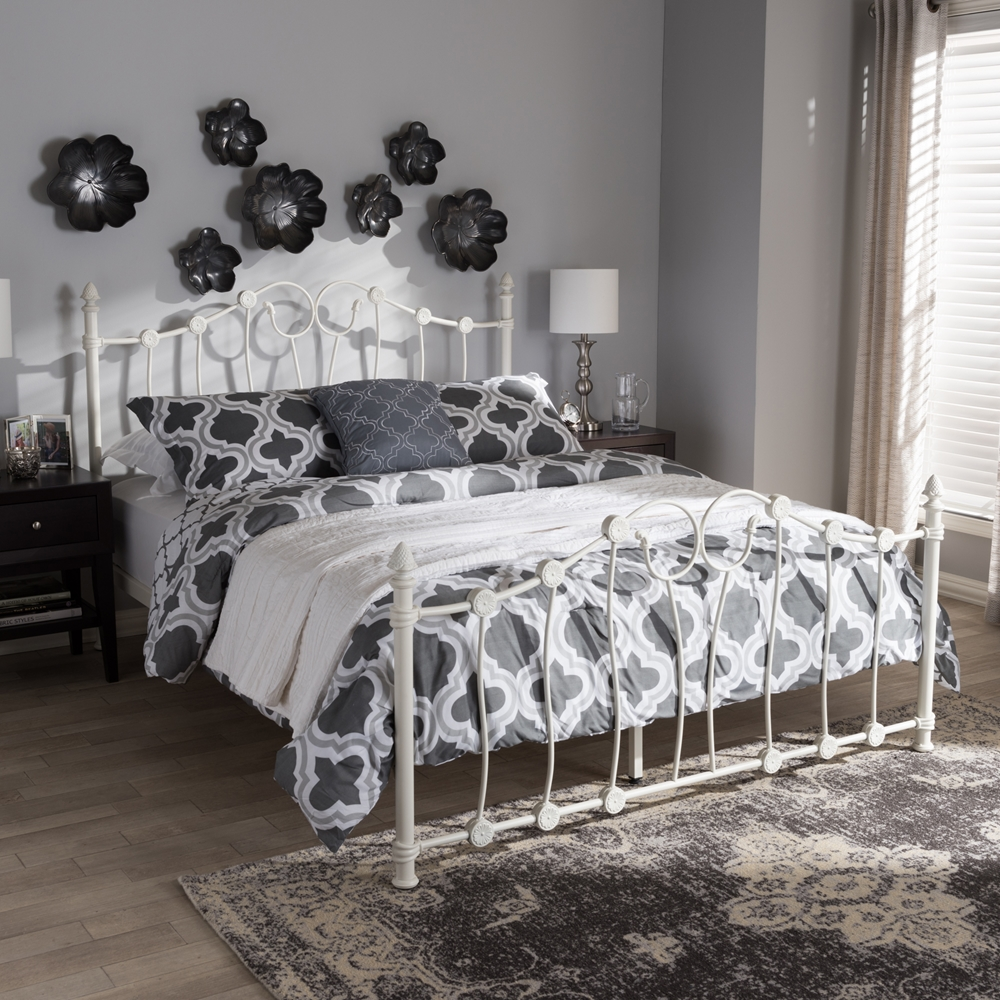 baxton studio darcy victorian style antique white metal full size platform bed. Black Bedroom Furniture Sets. Home Design Ideas