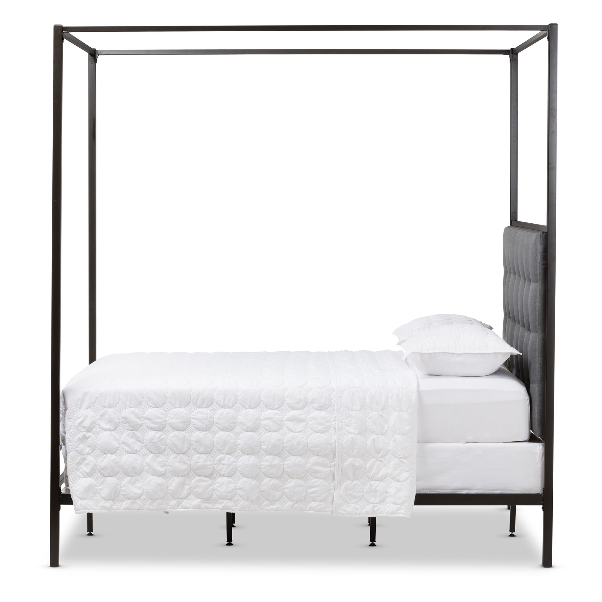 baxton studio eleanor modern and dark bronze metal grey fabric canopy queen bed bsots - Black Queen Bed