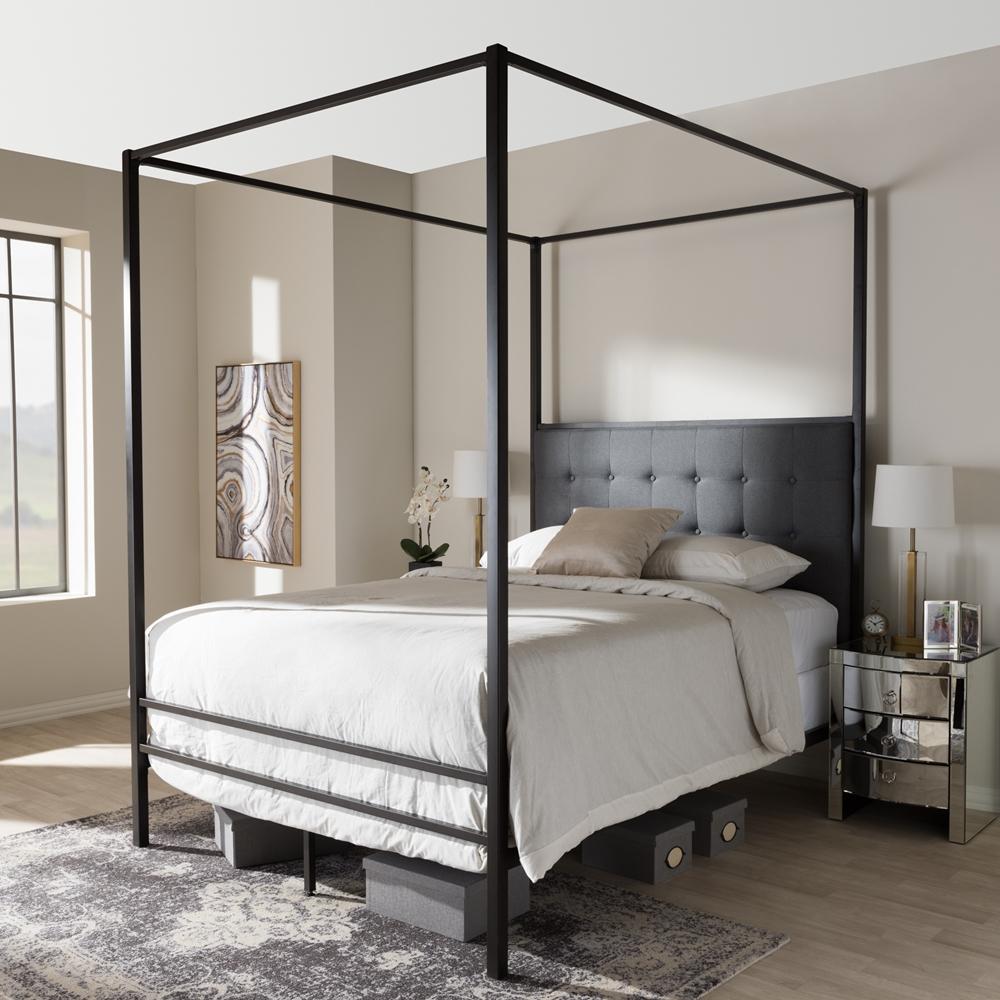 Baxton Studio Eleanor Modern And Contemporary Dark Bronze Metal Grey Fabric Canopy Queen Bed