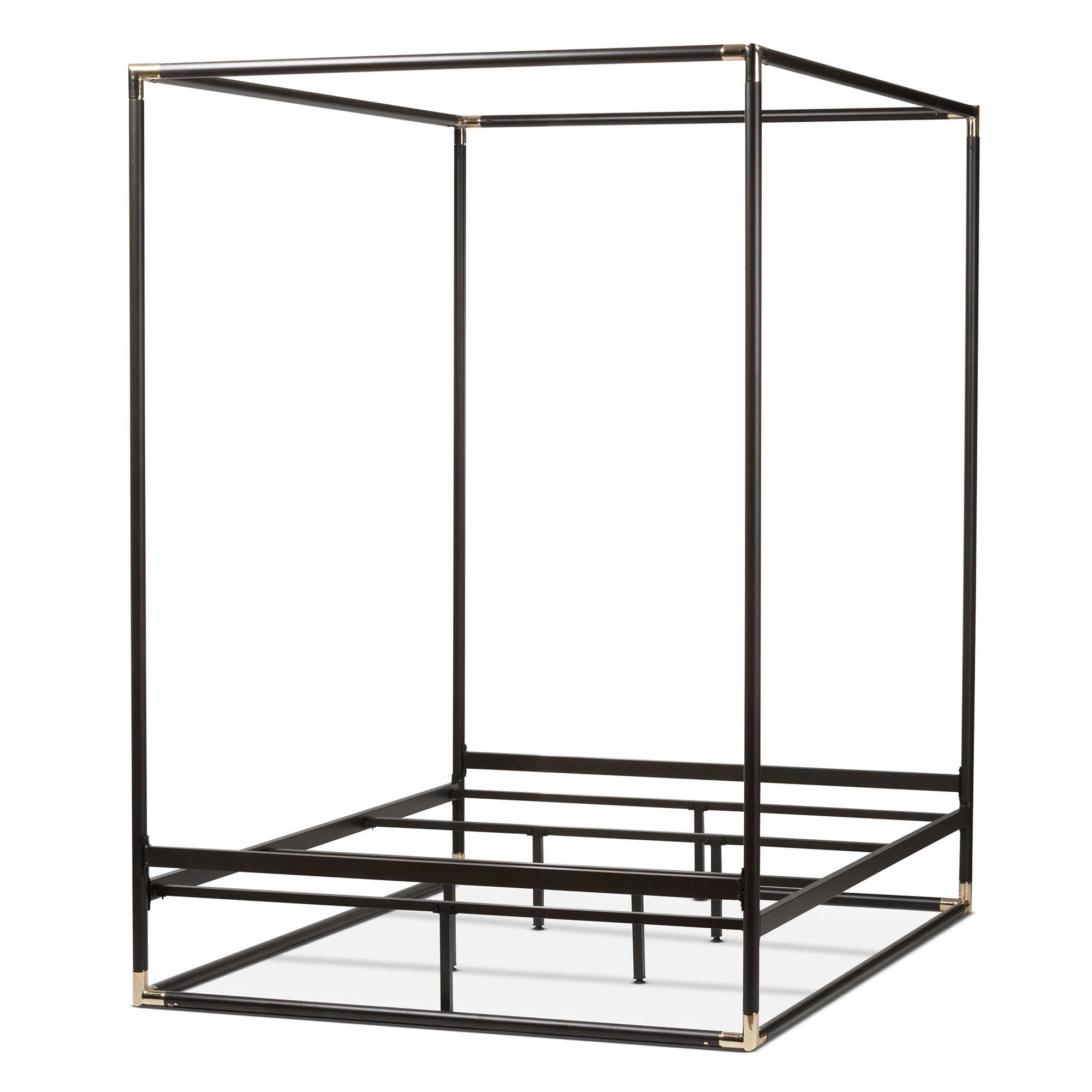 baxton studio eva modern and dark bronze metal canopy queen bed bsotseva - Black Queen Bed
