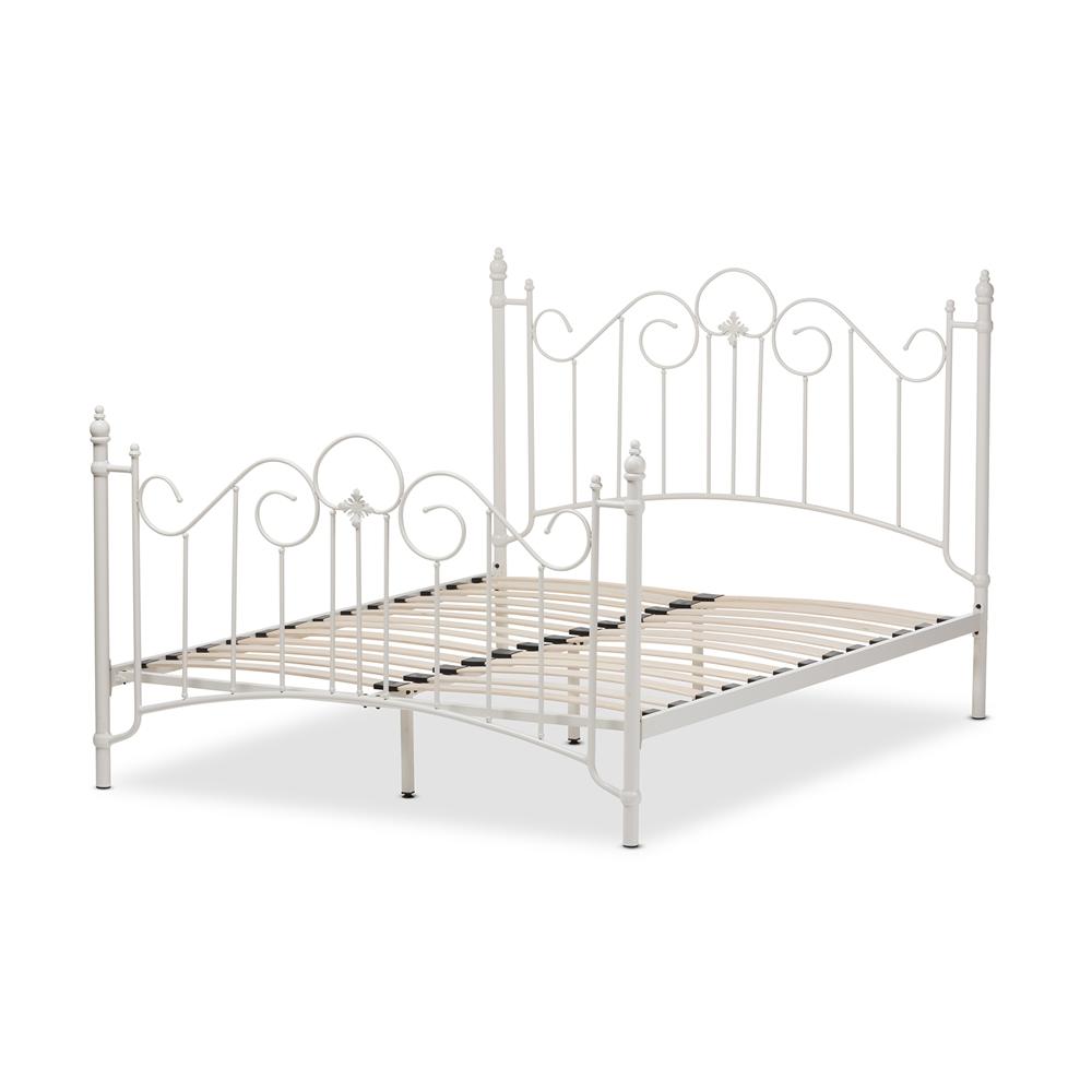 White Bed Frames Full baxton studio scarlett victorian style antique white metal full