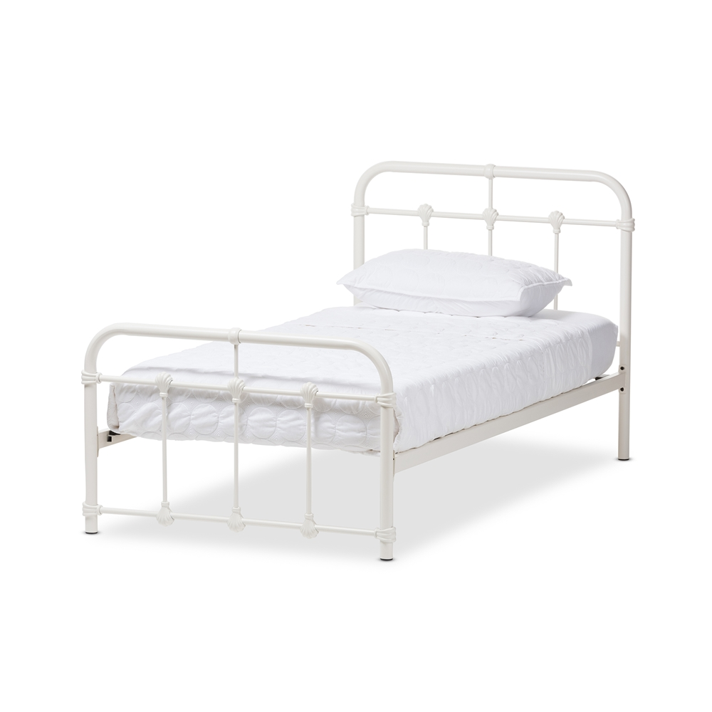 baxton studio mandy industrial style antique white twin size metal platform bed - White Metal Bed Frame Twin