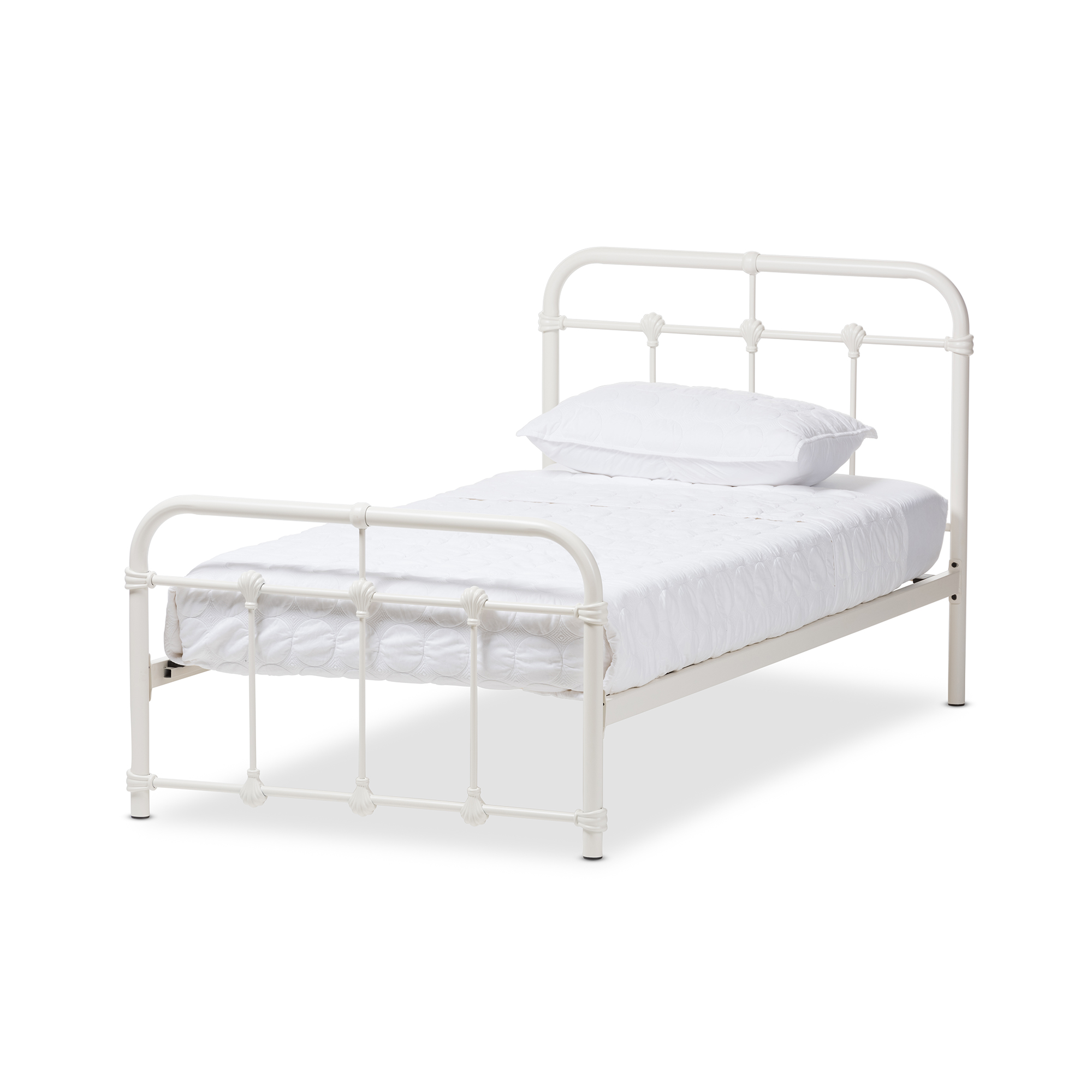 baxton studio mandy industrial style antique white twin size metal platform bed affordable modern furniture in