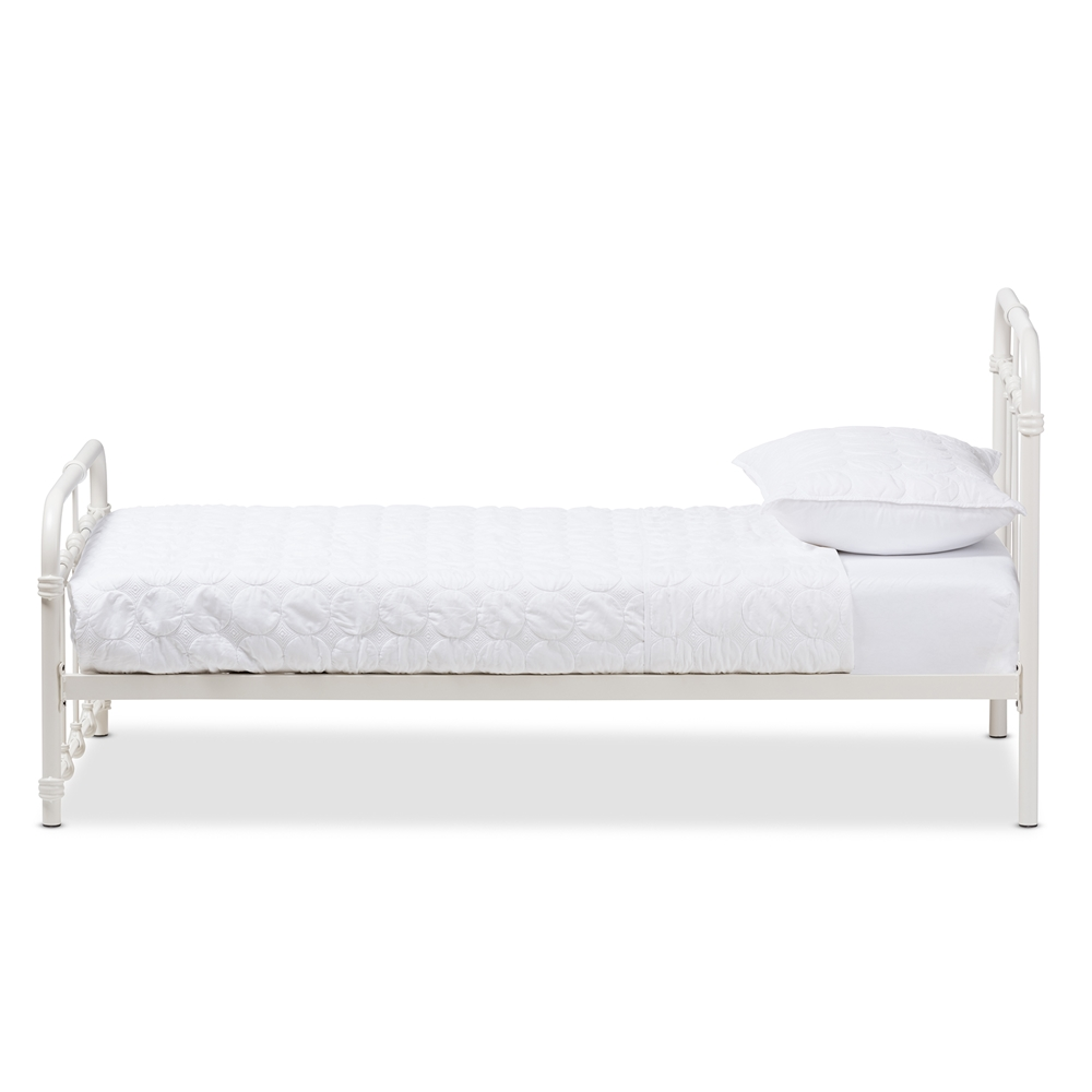 White Twin Bed Frames baxton studio mandy industrial style antique white twin size metal