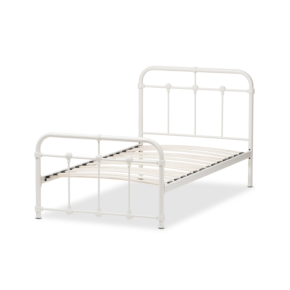 baxton studio mandy industrial style antique white twin size metal platform bed bsots105 white - White Twin Bed Frame