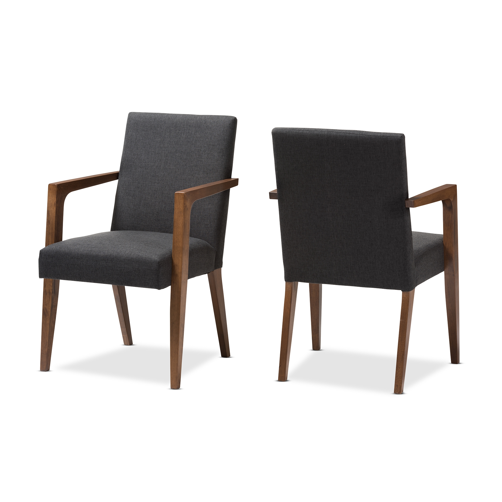 Baxton Studio Andrea Mid Century Modern Dark Grey Upholstered Wooden  Armchair (Set Of 2