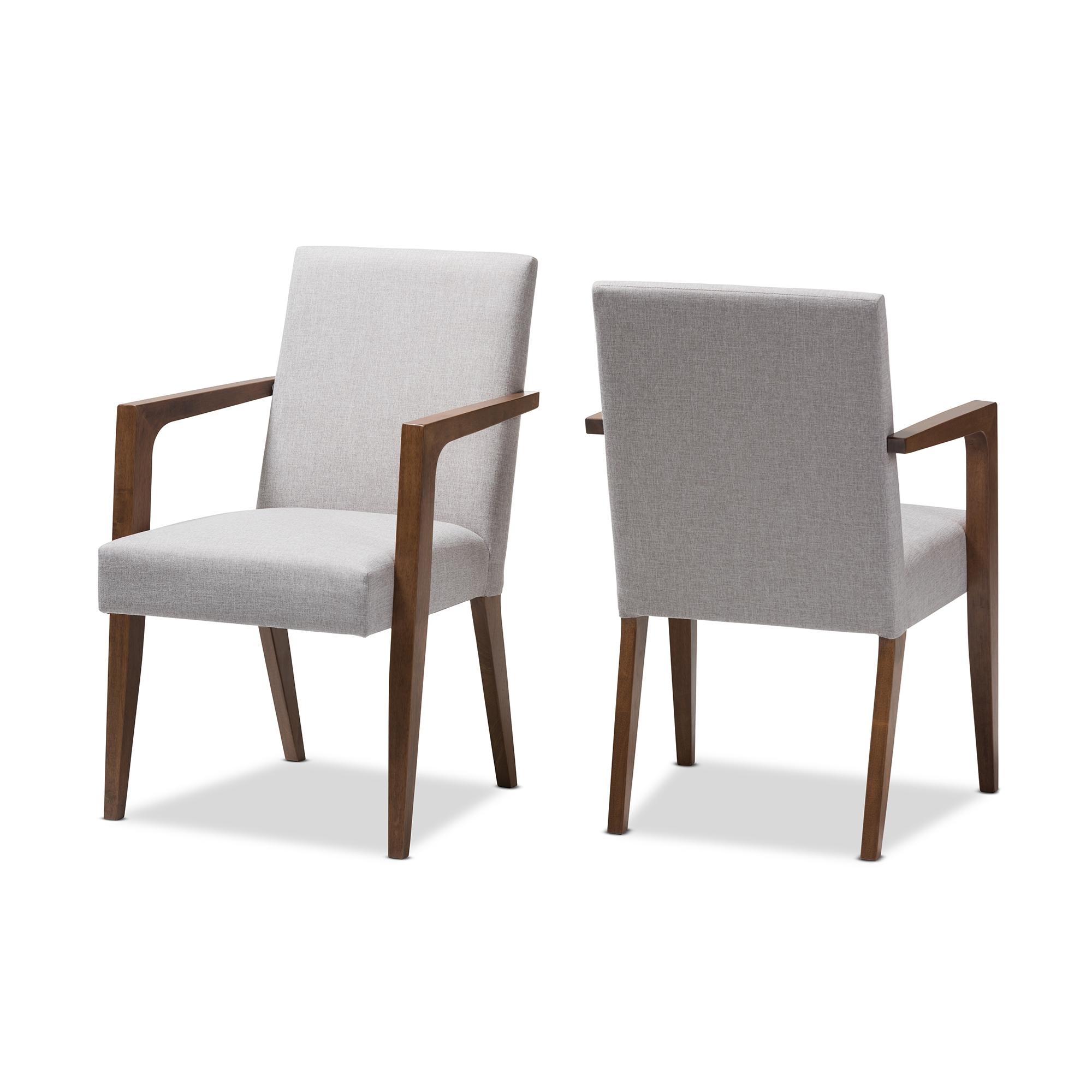 Baxton Studio Andrea Mid Century Modern Greyish Beige Upholstered Wooden  Armchair (Set Of 2)