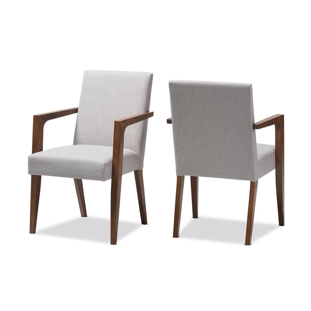 Beige modern armchair - Baxton Studio Andrea Mid Century Modern Greyish Beige Upholstered Wooden Armchair Set Of 2