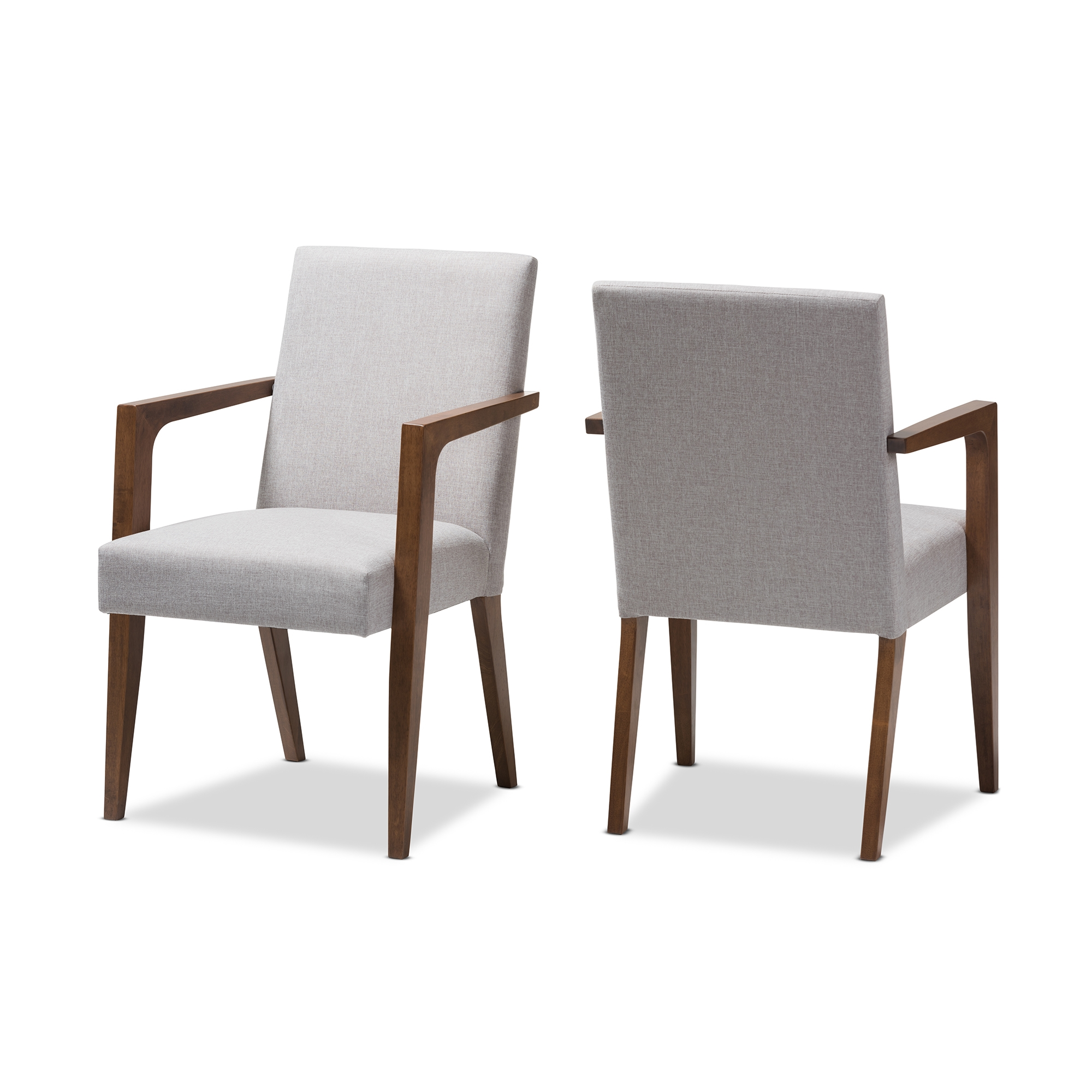 baxton studio andrea midcentury modern greyish beige upholstered wooden armchair set of 2