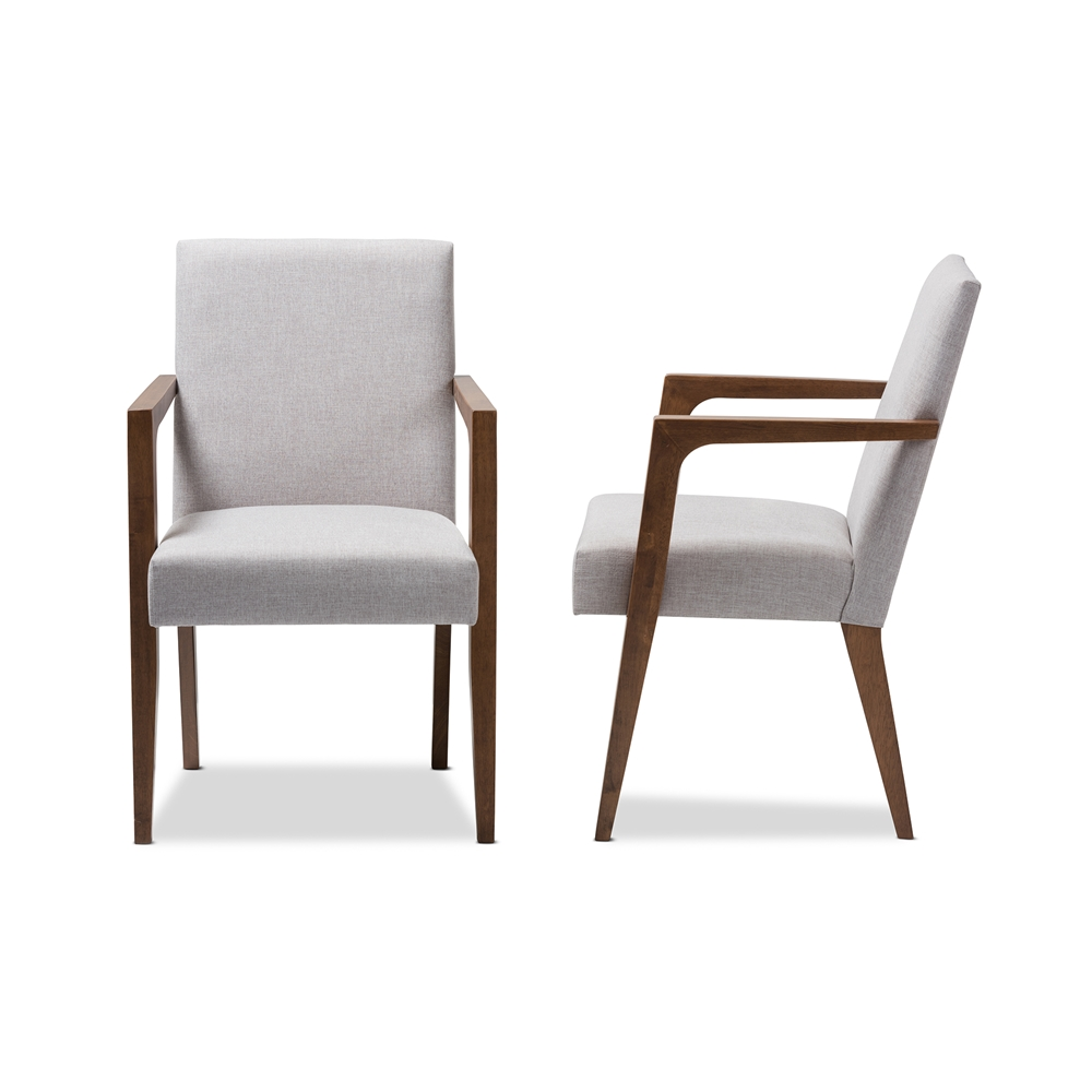 Wooden arm chair -  Baxton Studio Andrea Mid Century Modern Greyish Beige Upholstered Wooden Armchair Set Of 2