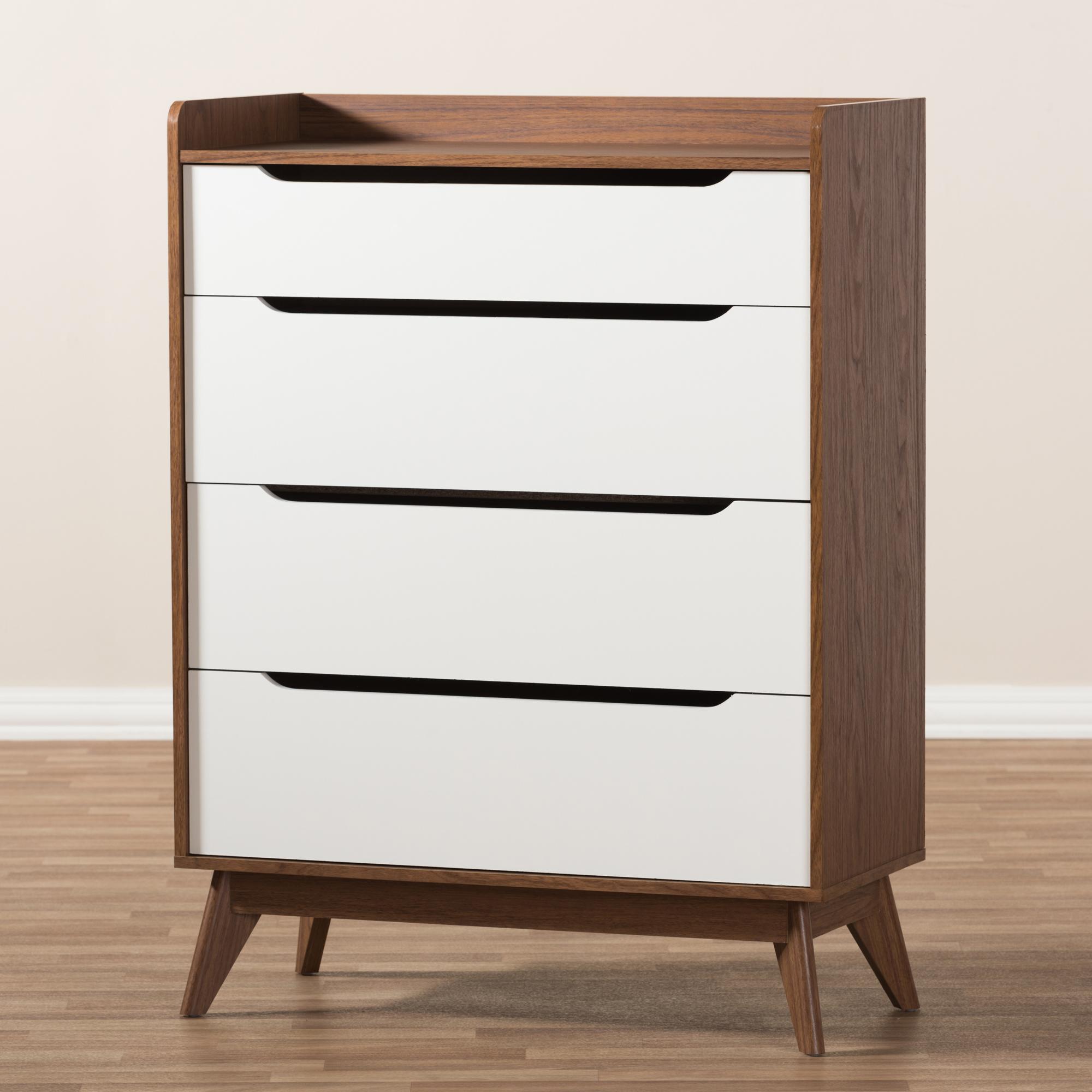 ... Baxton Studio Brighton Mid Century Modern White And Walnut Wood  4 Drawer Storage Chest ...