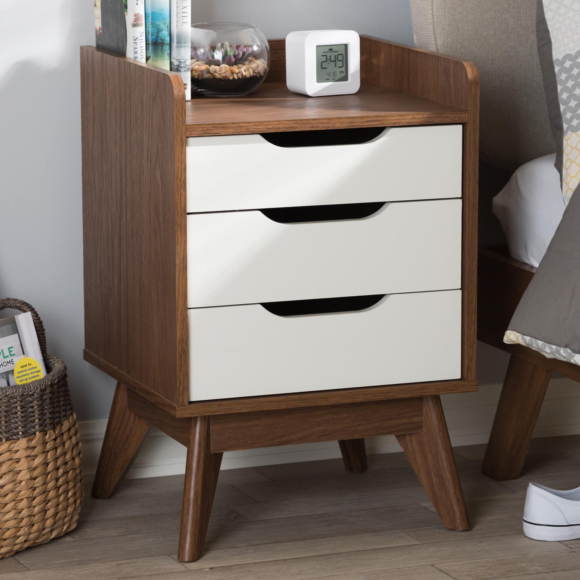 ... Baxton Studio Brighton Mid Century Modern White And Walnut Wood  3 Drawer Storage Nightstand ...