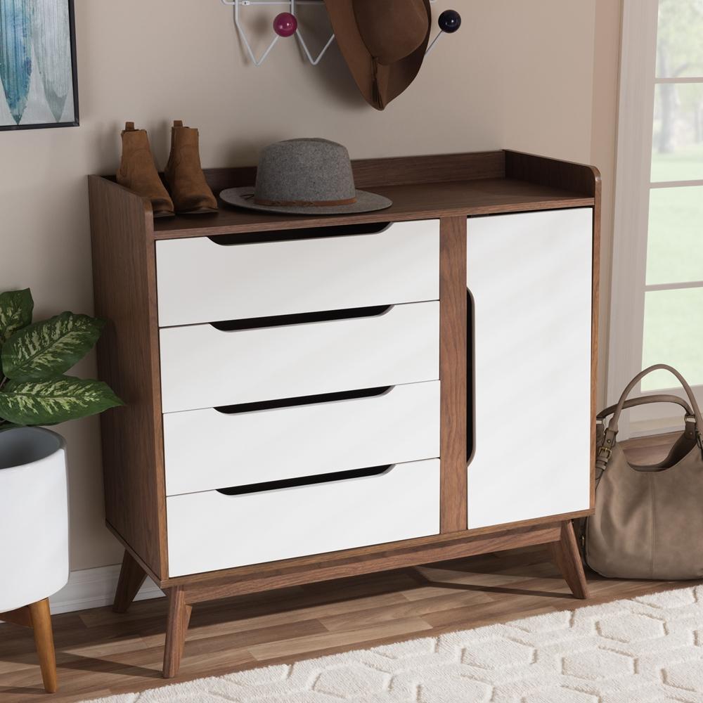 baxton studio brighton midcentury modern white and walnut wood storageshoe cabinet  bsobrighton . baxton studio brighton midcentury modern white and walnut wood