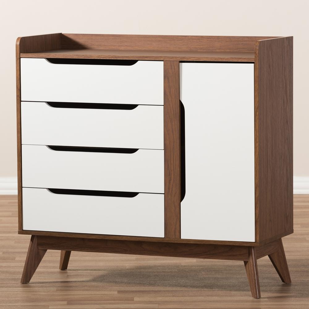 baxton studio brighton midcentury modern white and walnut wood  -  baxton studio brighton midcentury modern white and walnut wood storageshoe cabinet  bsobrighton
