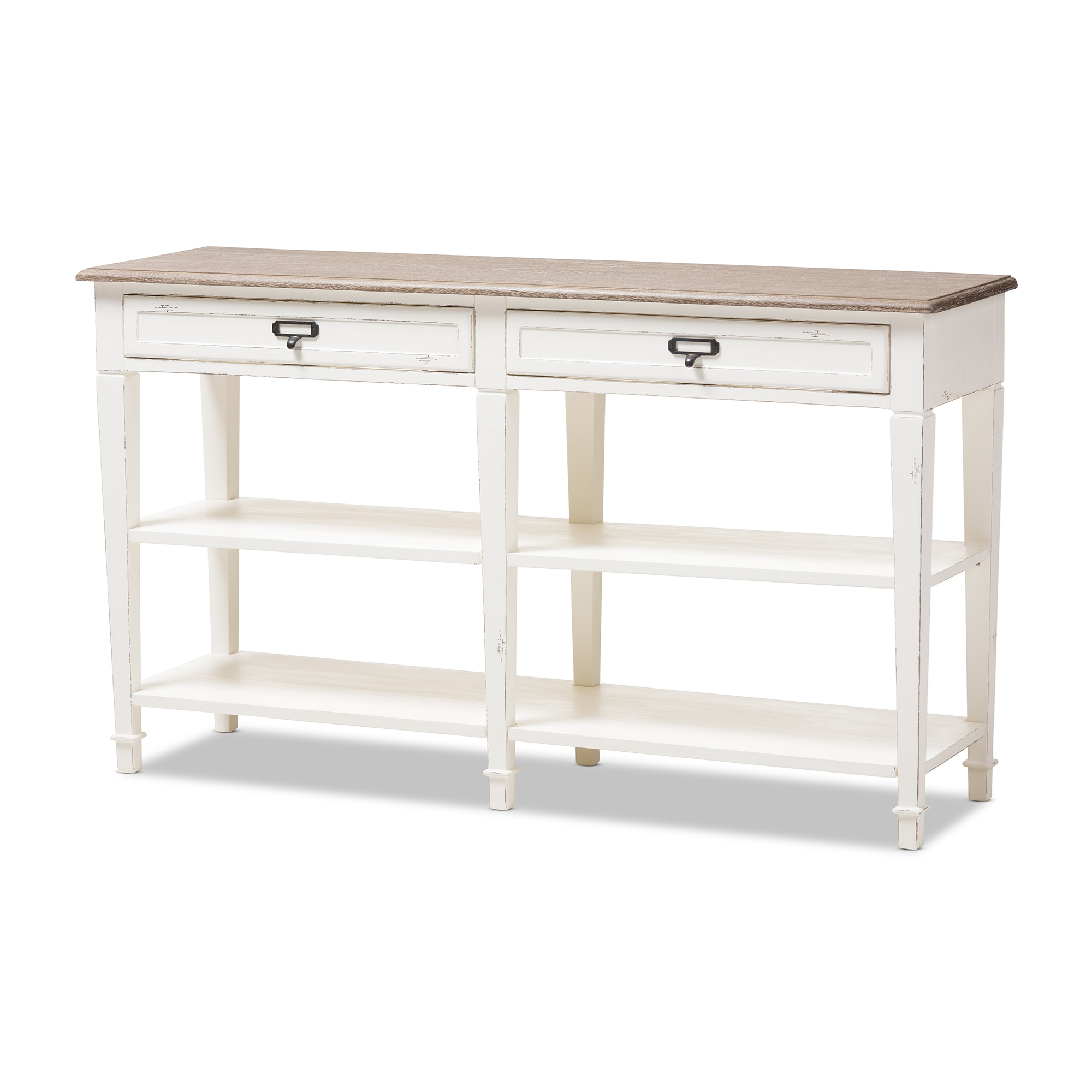 distressed white washed furniture. Baxton Studio Dauphine Provincial Style Weathered Oak And White Wash Distressed Finish Wood Console Table Washed Furniture F