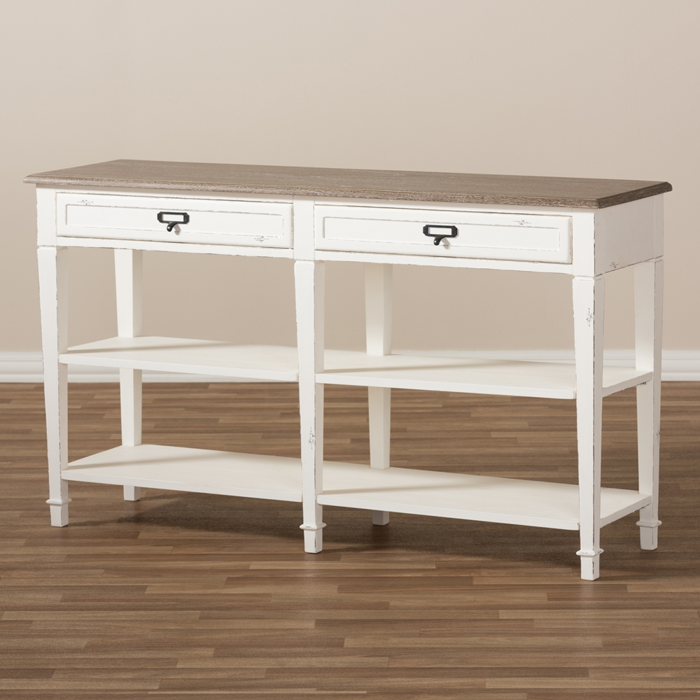 Baxton studio dauphine provincial style weathered oak and white baxton studio dauphine provincial style weathered oak and white wash distressed finish wood console table geotapseo Choice Image