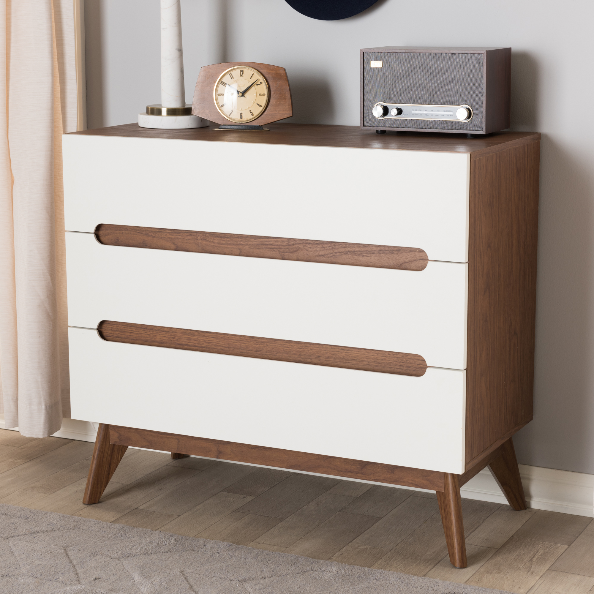 ... Baxton Studio Calypso Mid Century Modern White And Walnut Wood 3 Drawer  Storage Chest ...