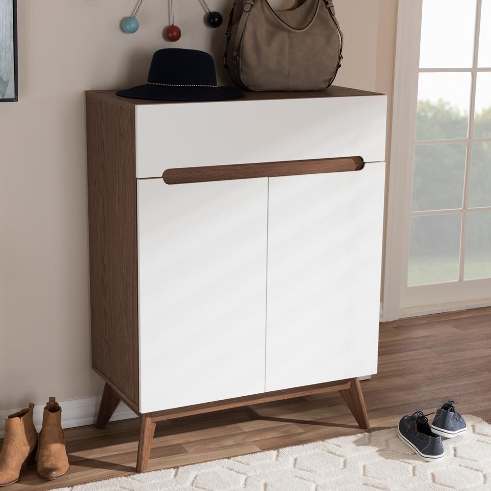 baxton studio calypso midcentury modern white and walnut wood storageshoe cabinet  bsocalypso . baxton studio calypso midcentury modern white and walnut wood
