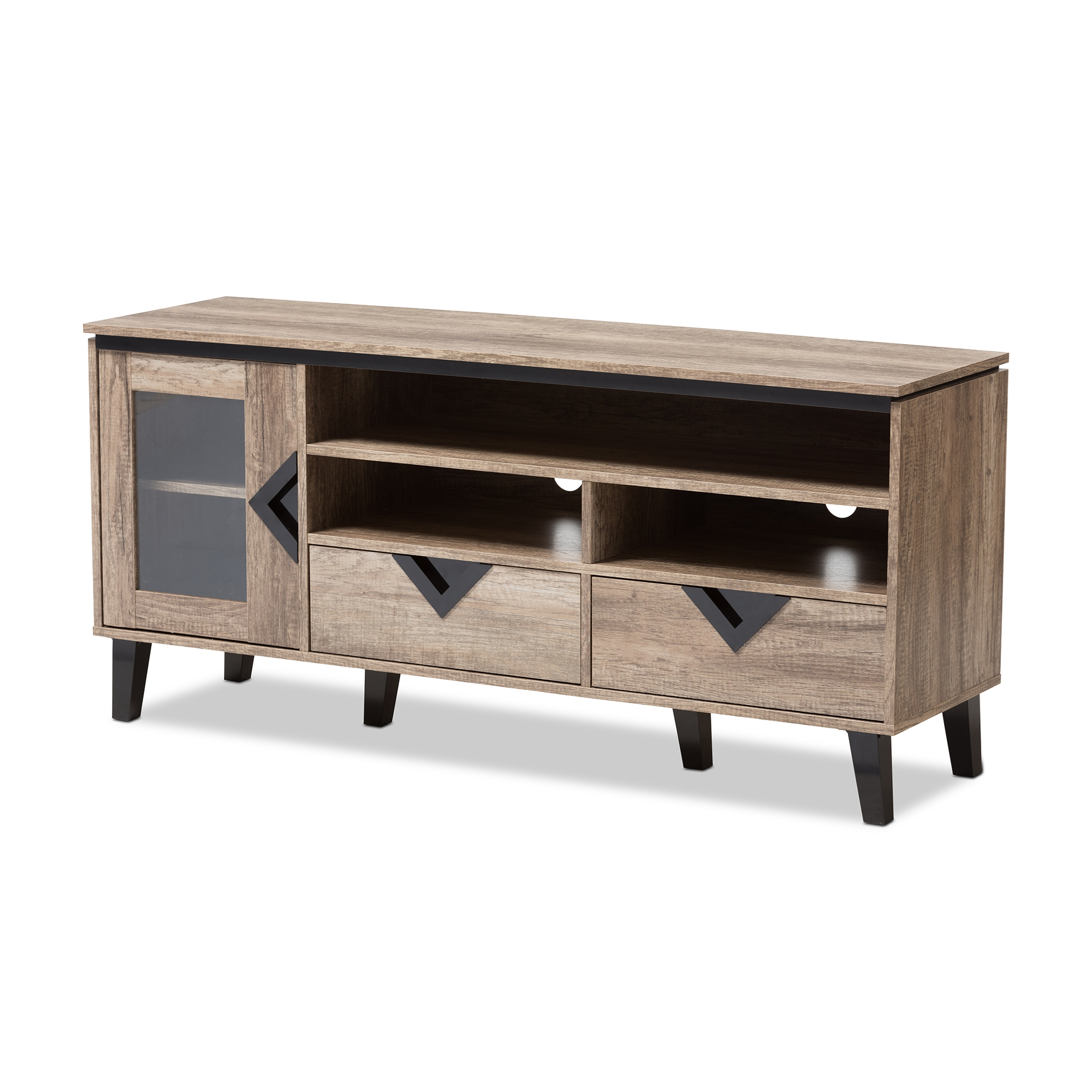 Baxton Studio Cardiff Modern And Contemporary Light Brown Wood 55 Inch TV  Stand Affordable Modern