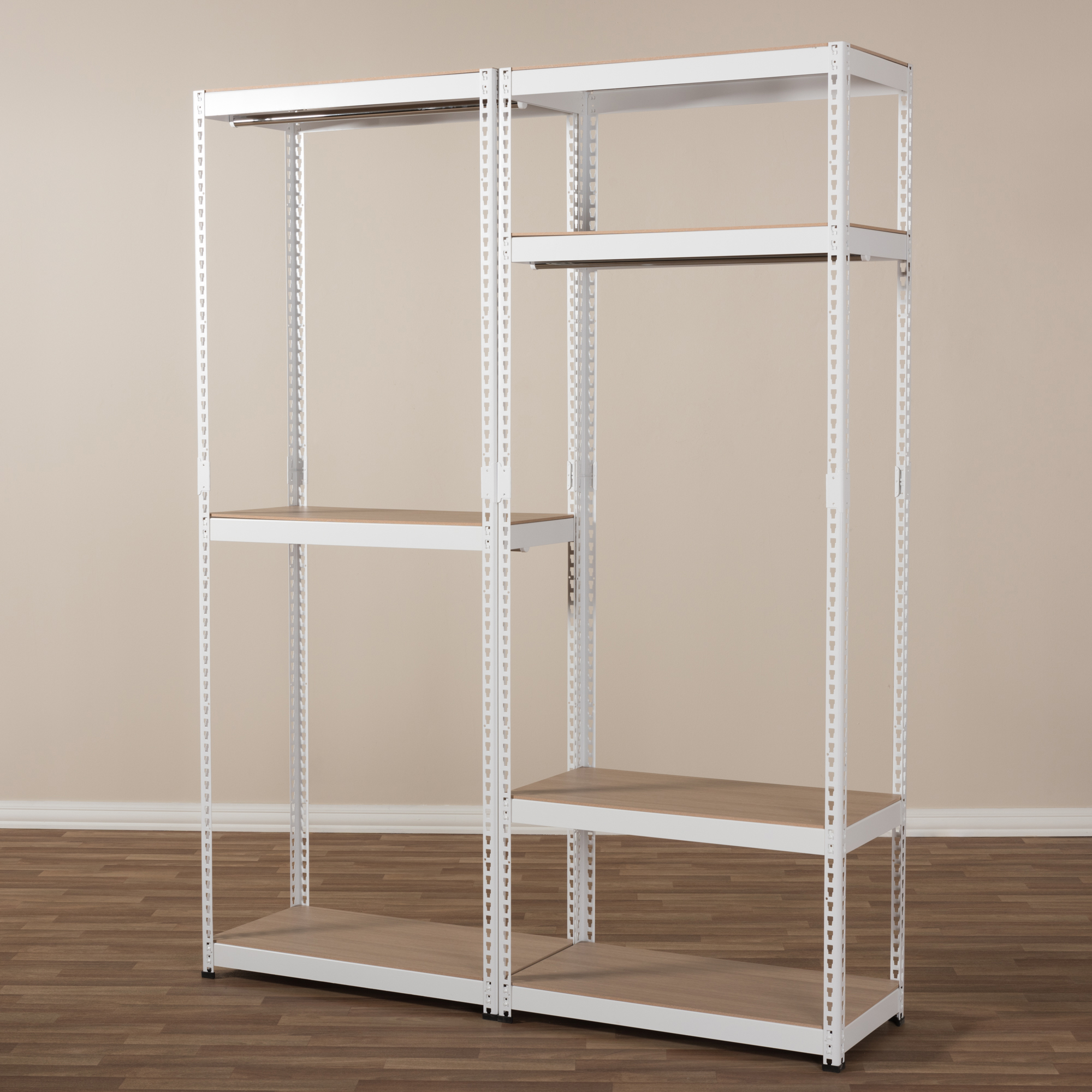 ... Baxton Studio Gavin White Metal 7 Shelf Closet Storage Racking  Organizer   BSOWH06/WH09 ...