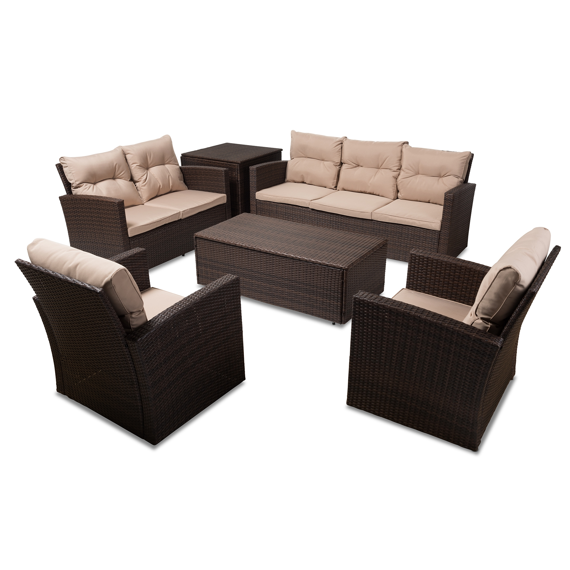 Baxton Studio Springville 6 Piece Brown Wicker Outdoor Seating Set Affordable  Modern Furniture In Chicago