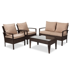 Baxton Studio Empire Modern and Contemporary 4-Piece Brown Wicker Outdoor Patio Set Affordable modern furniture in Chicago, classic outdoor furniture, modern patio set, cheap patio sets