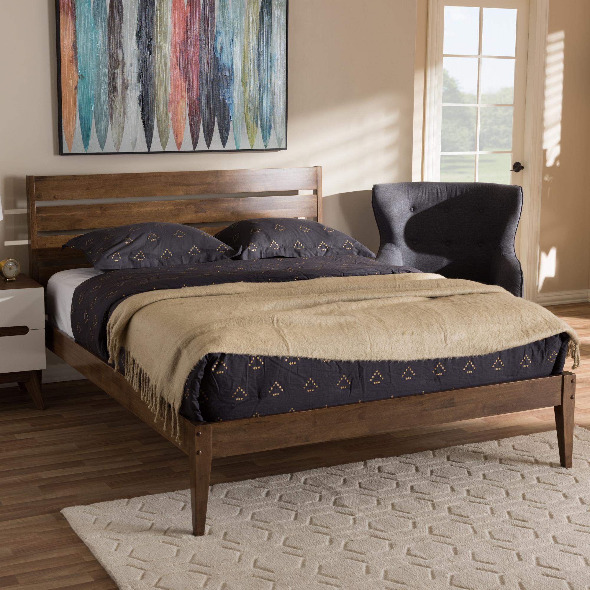baxton studio elmdon midcentury modern solid walnut wood slatted headboard style king size platform
