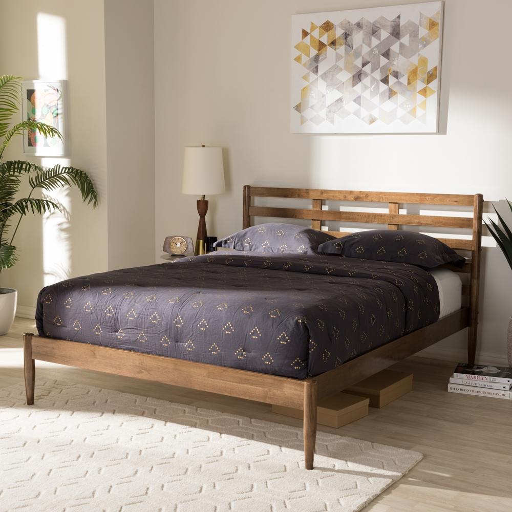 Baxton Studio Opal Mid Century Modern Solid Walnut Wood