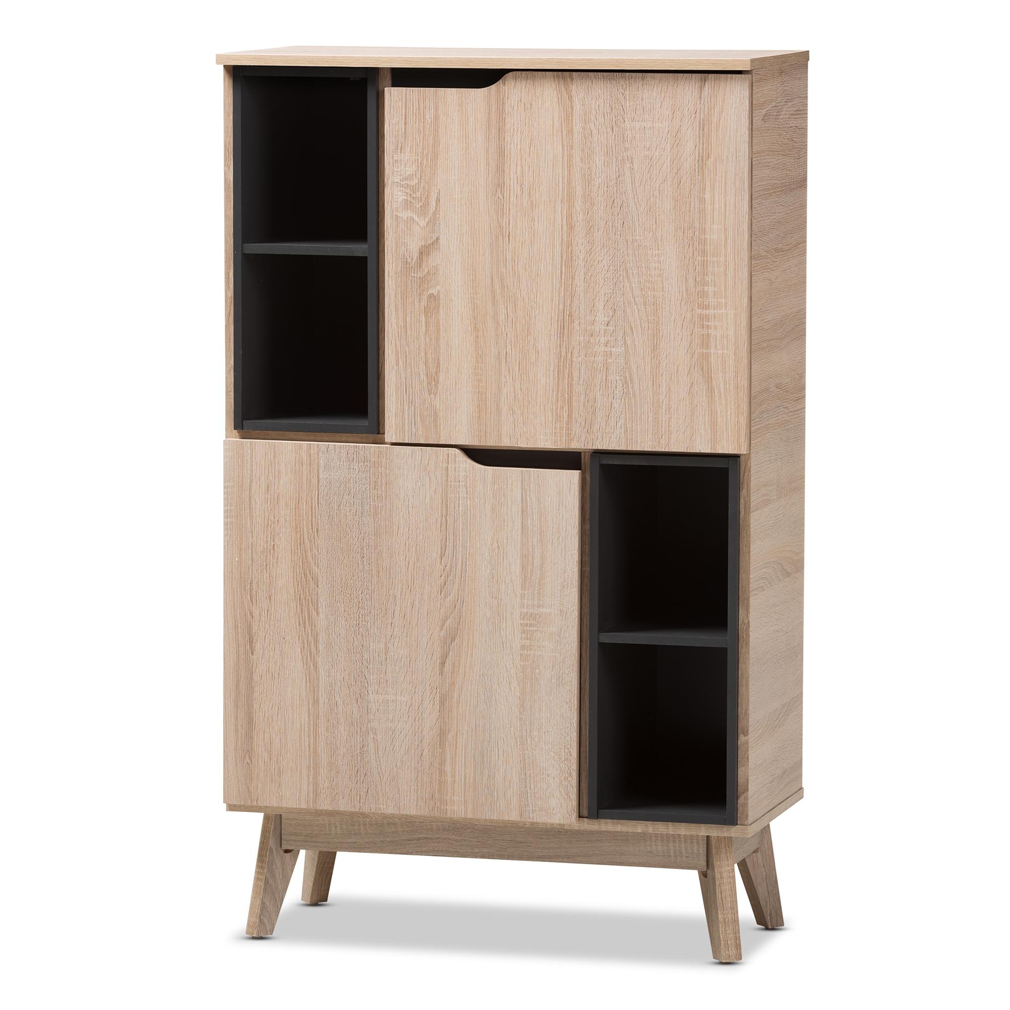 Baxton Studio Fella Mid Century Modern Two Tone Oak And Grey Wood  Multipurpose Storage Cabinet