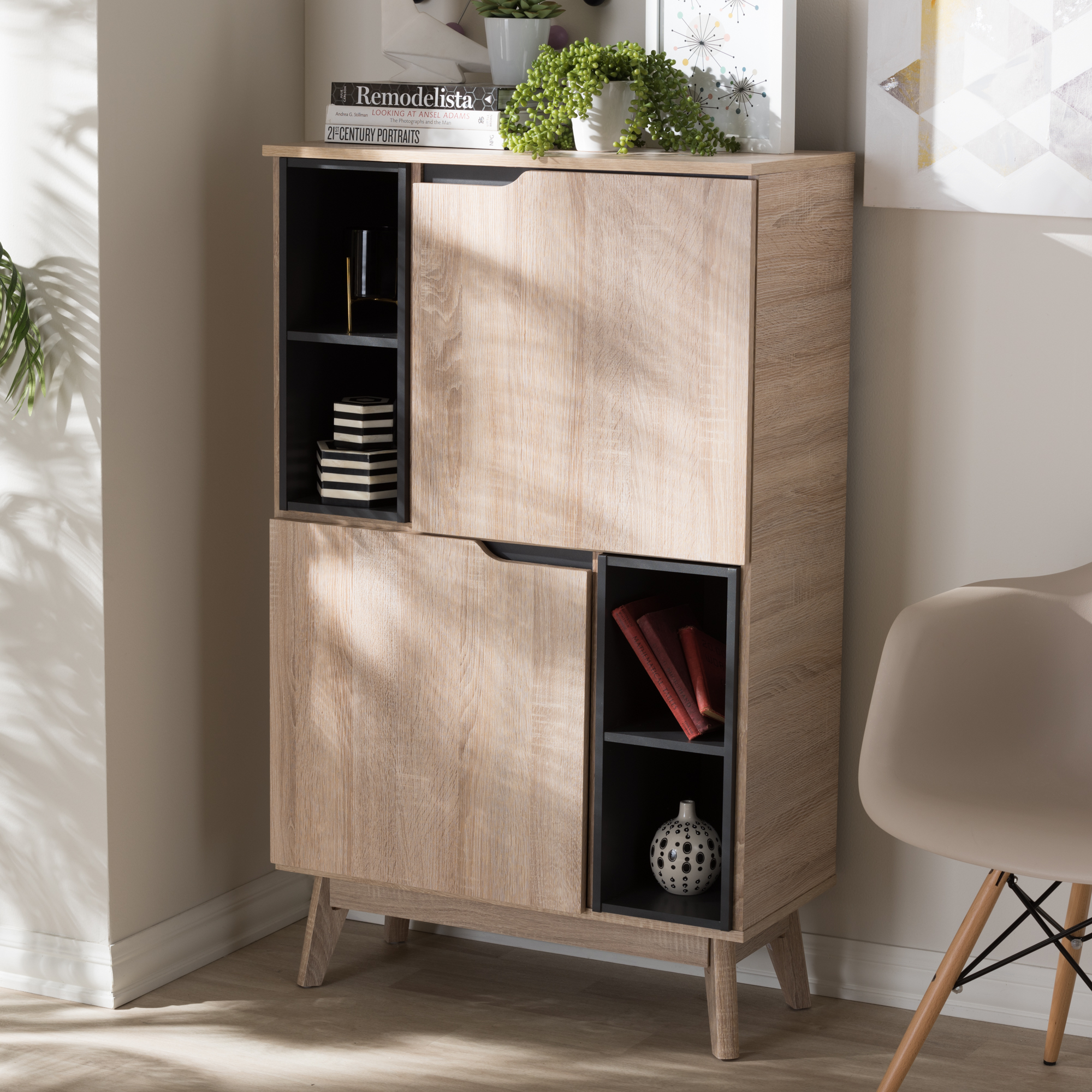 ... Baxton Studio Fella Mid Century Modern Two Tone Oak And Grey Wood  Multipurpose Storage ...