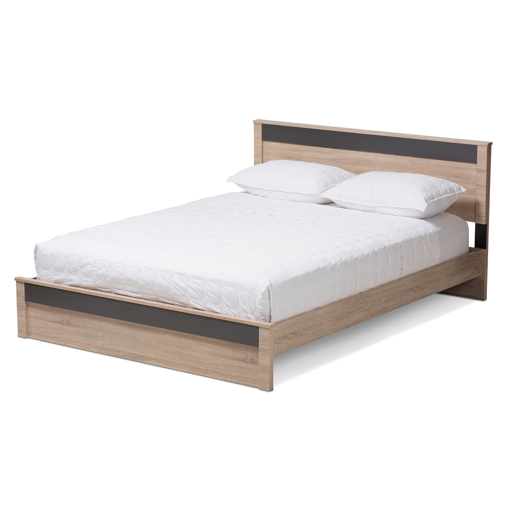 baxton studio jamie modern and contemporary two tone oak and grey wood queen size platform - Queen Bed Frames For Cheap