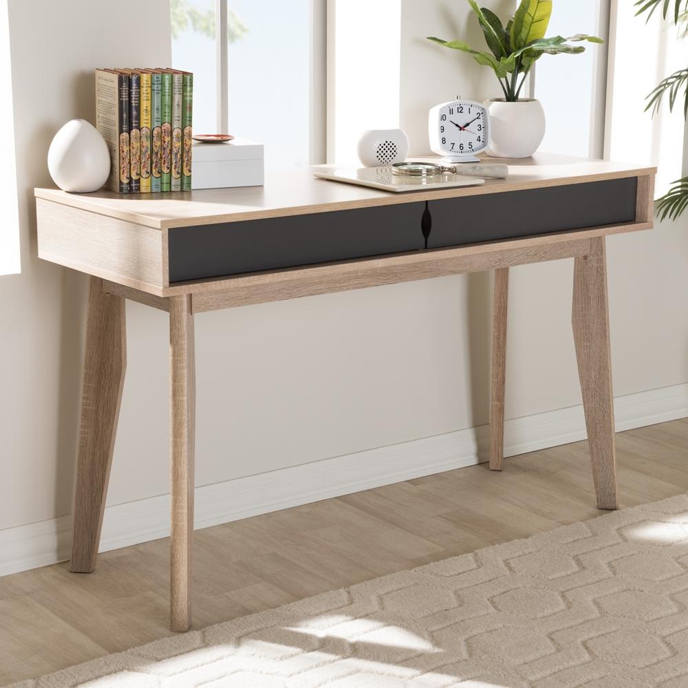 Design Study Desk baxton studio fella mid century modern 2 drawer oak and grey wood study desk