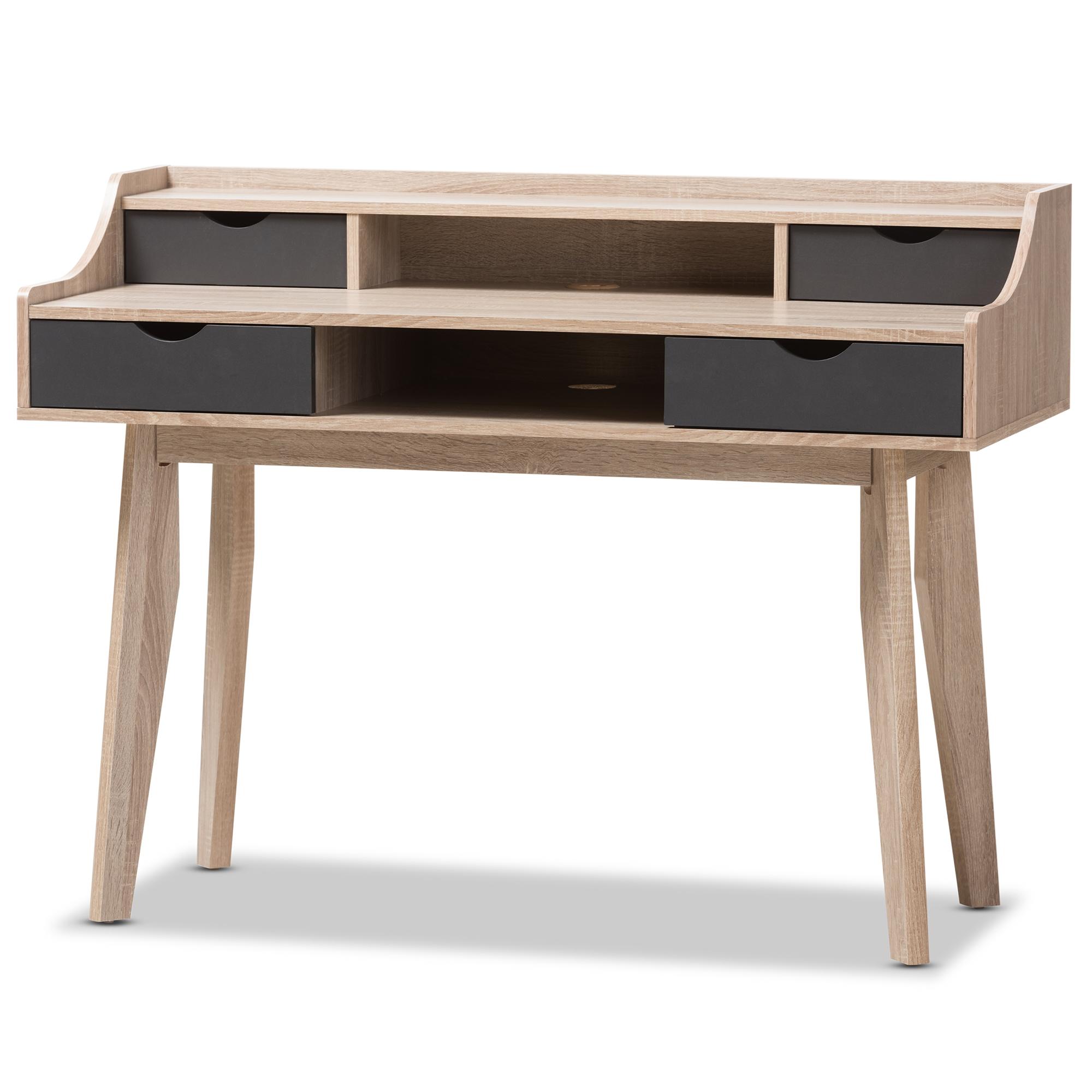 Baxton Studio Fella Mid Century Modern 4 Drawer Oak And Grey Wood Study Desk