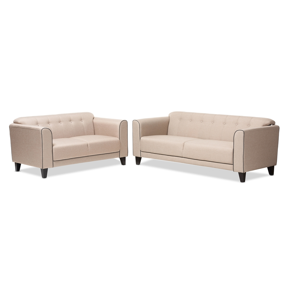 Contemporary furniture stores in chicago il - Baxton Studio Lottie Modern And Contemporary Beige Fabric Button Tufted 2 Piece Set Affordable