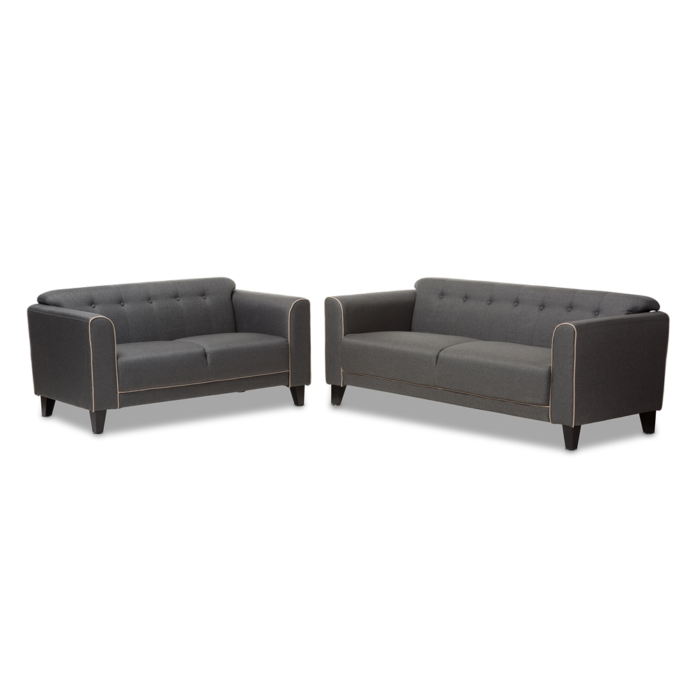 Contemporary furniture stores in chicago il - Baxton Studio Lottie Modern And Contemporary Grey Fabric Button Tufted 2 Piece Set Affordable